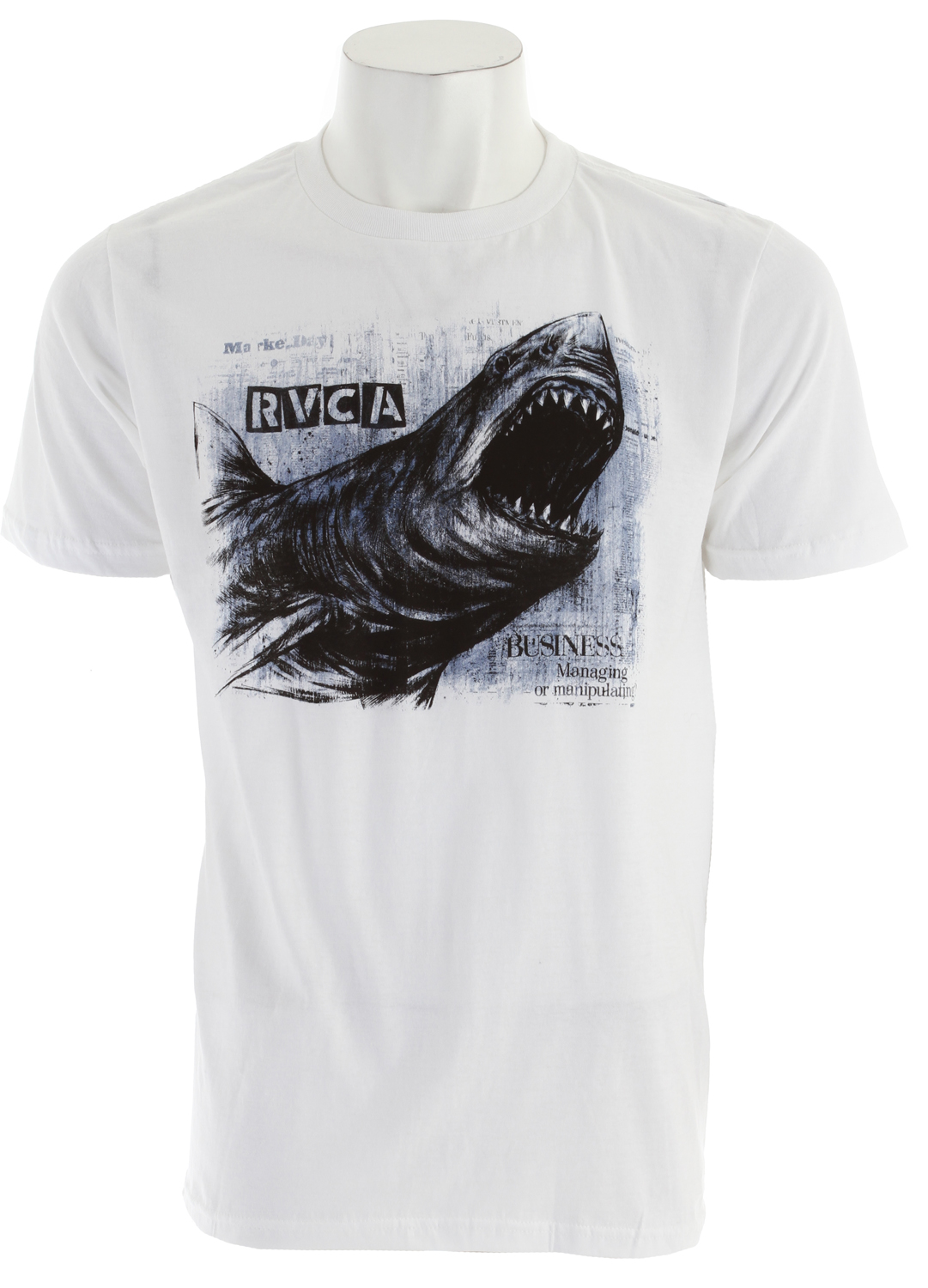 Key Features of The RVCA Great White T-Shirt: Regular Fit Crew Neck Short Sleeve 30/1 100% combed cotton Front and back screenprint with screened inside neck - $15.95