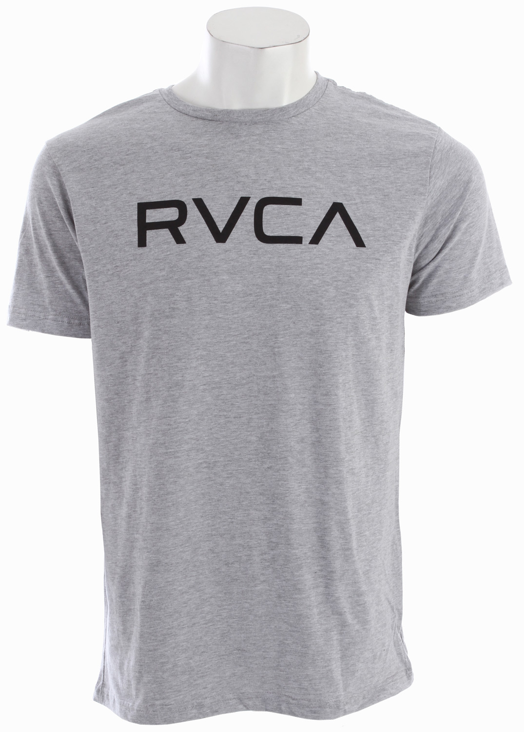 Sports Key Features of The RVCA Big RVCA Raglan Shirt White/Black: Regular Fit Crew Neck Raglan 30/1 100% cotton baseball raglan Front screenprint and screened inside neck - $24.00