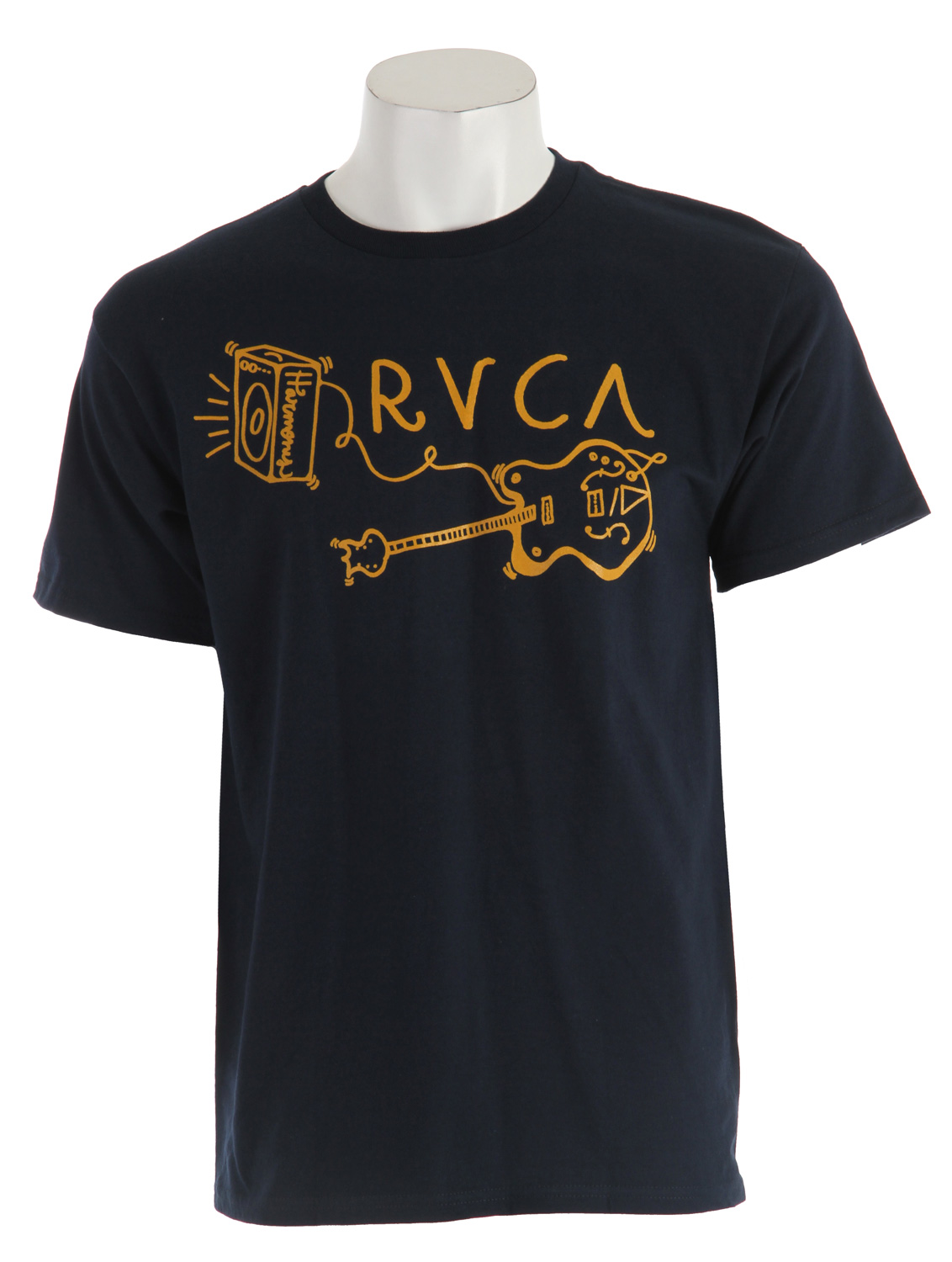 Guns and Military Key Features of The RVCA Harmony Guitar T-Shirt: Regular Fit Crew Neck Short Sleeve RVCA's industrial tee Heavier weight 100% ring spun cotton tee - $25.95