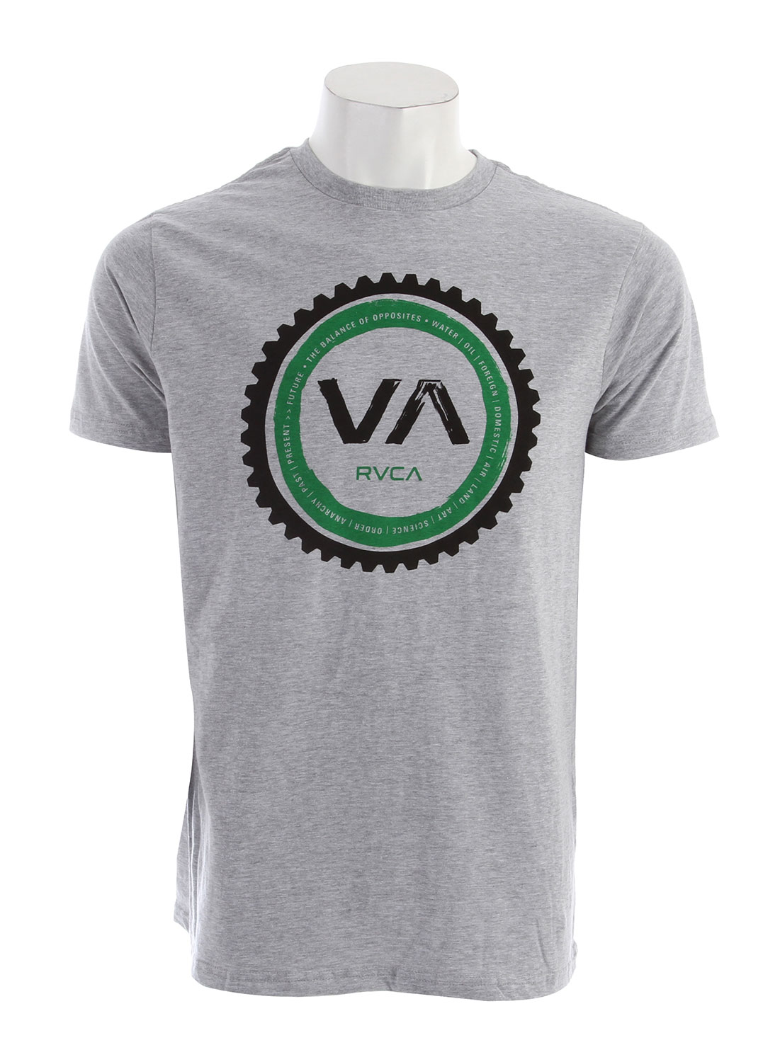 Key Features of the RVCA Cogwheel Standard T-Shirt: BLK, RYL, WHT: 100% Combed Cotton ATH: 90% Cotton/10% Polyester Standard Fit Tee with front print and screened inside neck - $24.00