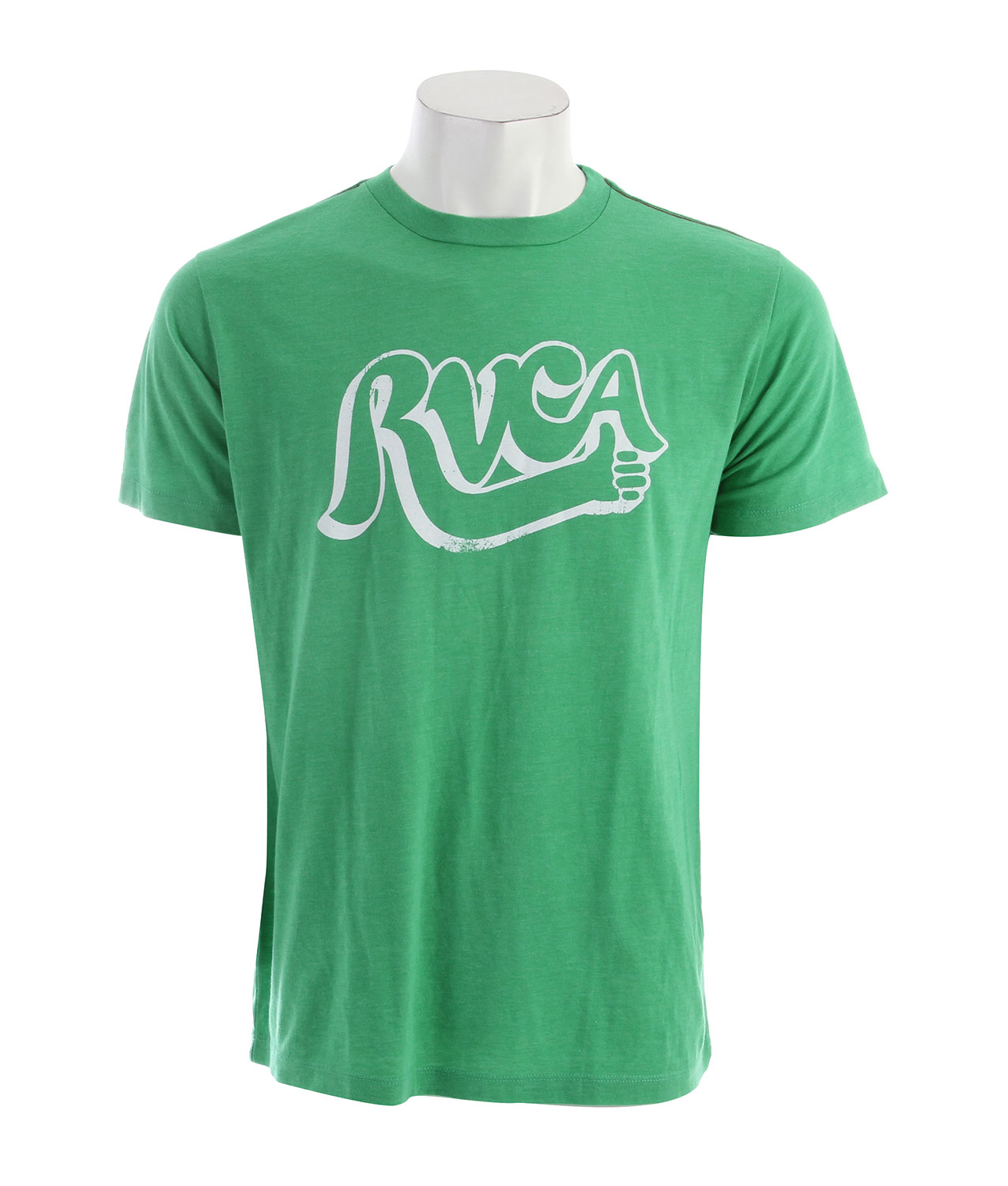 Key Features of the RVCA Good Job Vintage Dye T-Shirt: 55% Polyester/45% Cotton Vintage Dye Slim Fit tee with front print and screened inside neck - $27.00