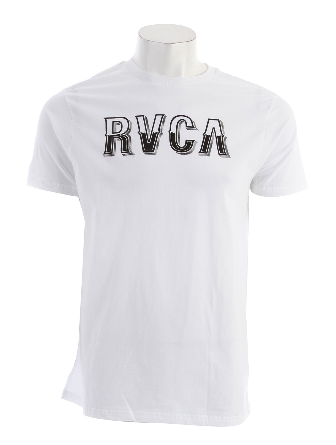 Key Features of the RVCA Vintage RVCA Standard T-Shirt: BLK, KGR, PAV, RED, WHT: 100% Combed Cotton ATH: 90% Cotton/10% Polyester Standard Fit Tee with front print and screened inside neck - $15.95