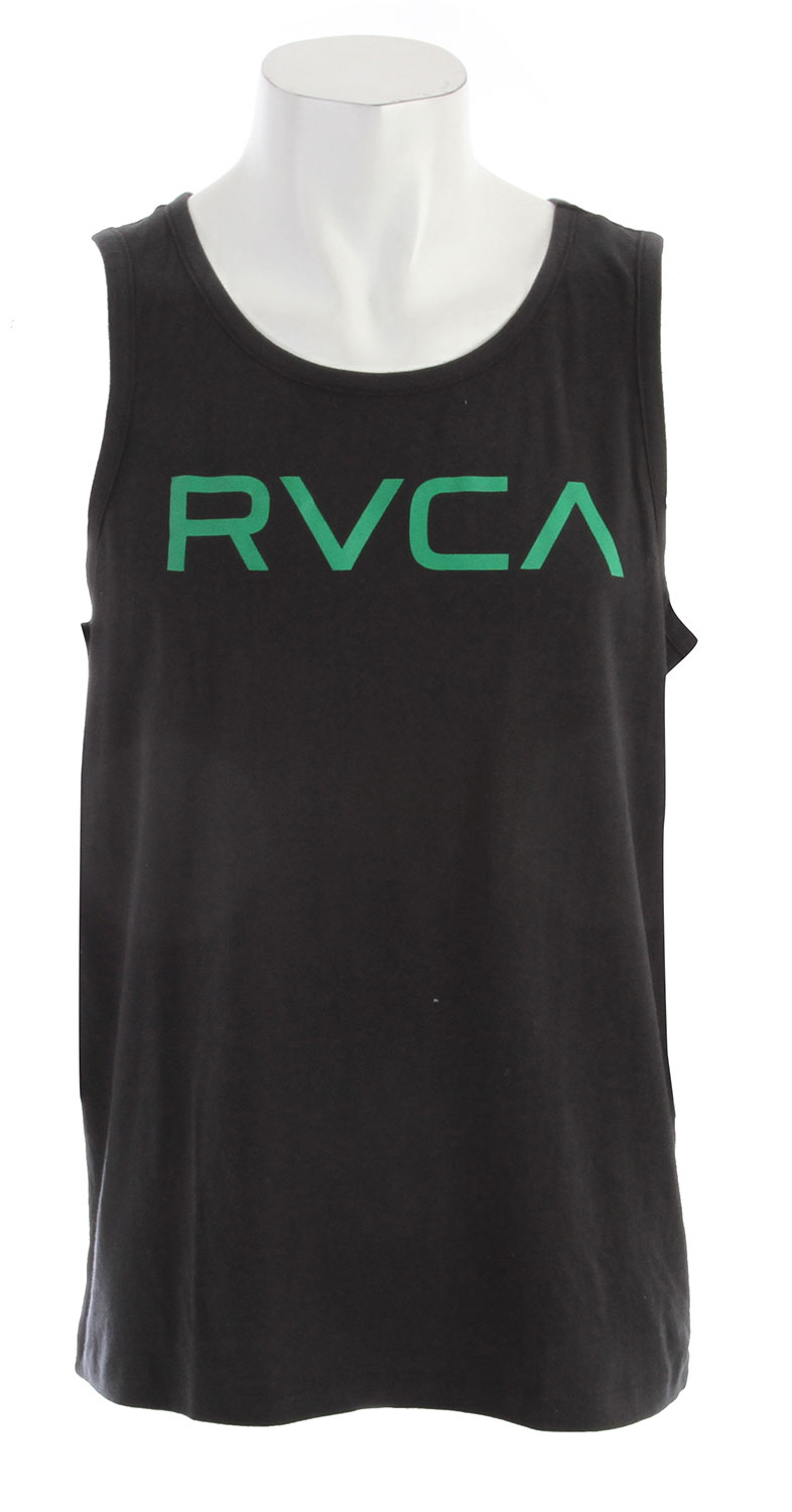 Surf Key Features of the RVCA Big RVCA Standard Tank: BLK, NVY WHT: 100% Cotton ATH: 90% Cotton/10% Polyester Heavier weight short sleeve crew tee Screen print front and screened inside neck - $14.95