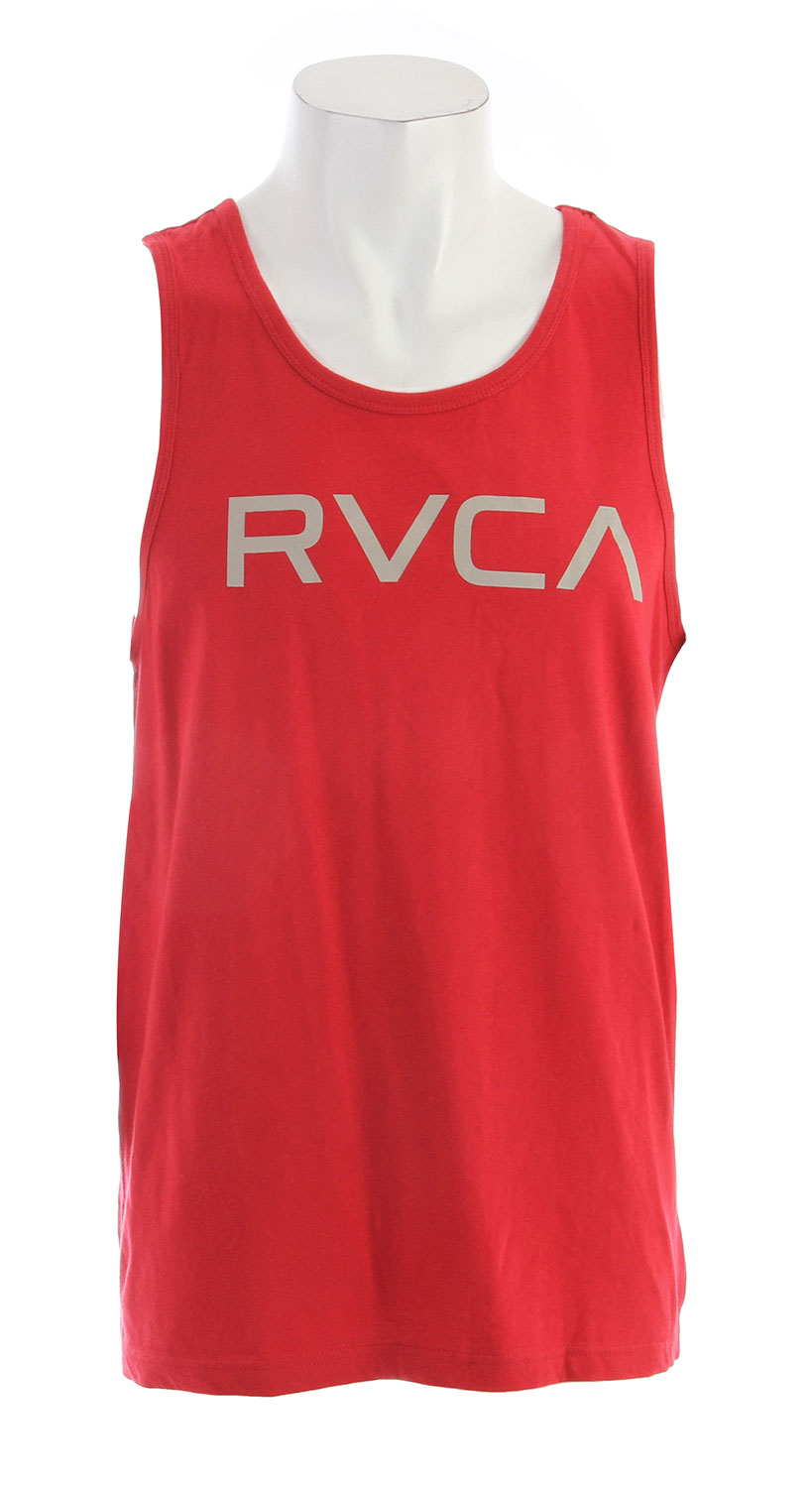 Surf Key Features of the RVCA Big RVCA Standard Tank: BLK, NVY WHT: 100% Cotton ATH: 90% Cotton/10% Polyester Heavier weight short sleeve crew tee Screen print front and screened inside neck - $22.00
