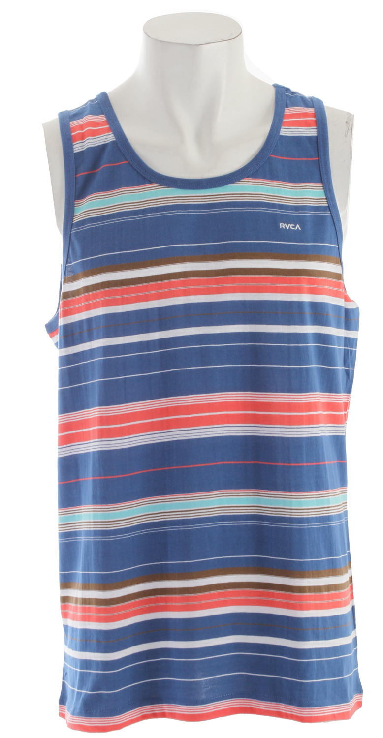Surf Key Features of the RVCA Benny Tank: Regular fit 60% cotton/40% polyester yarn dyed stripe jersey tank Contrast ribbing at neck and armhole opening RVCA embroidery at wearer's left chest - $21.95