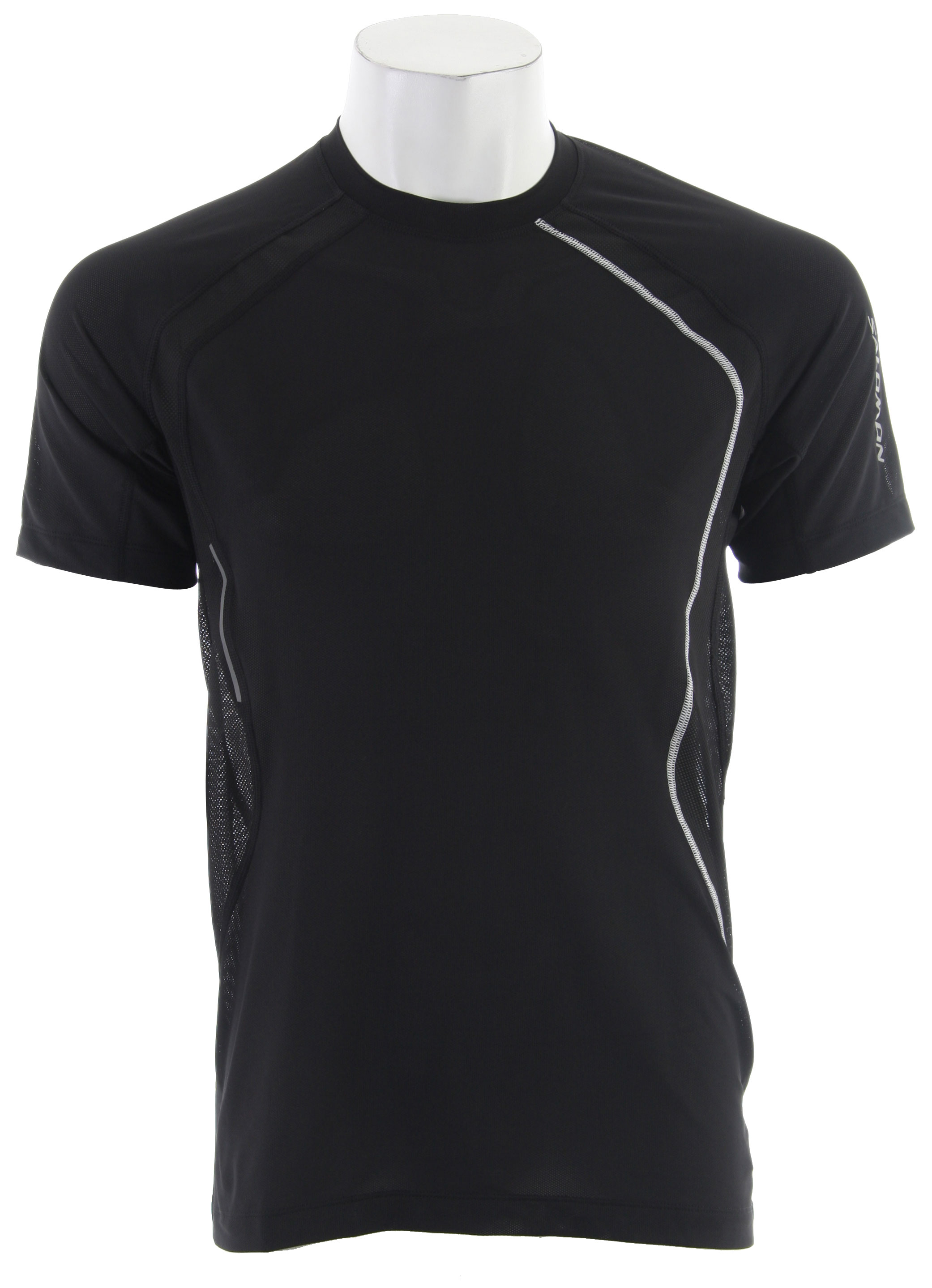 Camp and Hike Light weight and technical, the Salomon Trail Runner II Tech T-Shirt has mesh panels for improved ventilation and 2 gel pockets.Key Features of the Salomon Trail Runner II Tech T-Shirt:  Smart Skin  Acti Lite Ii Stretch Mesh  Acti Lite  Ii Polymockeylet  Flatlock Seams  Reflective Branding Front & Back  2 Gel Pockets  Composition Insert: Polyester 91%, Elastane 9%  Body : Polyester 92%, Elastane 8%  Active Fit  Weight 130 G / 4,59 Oz - $43.95