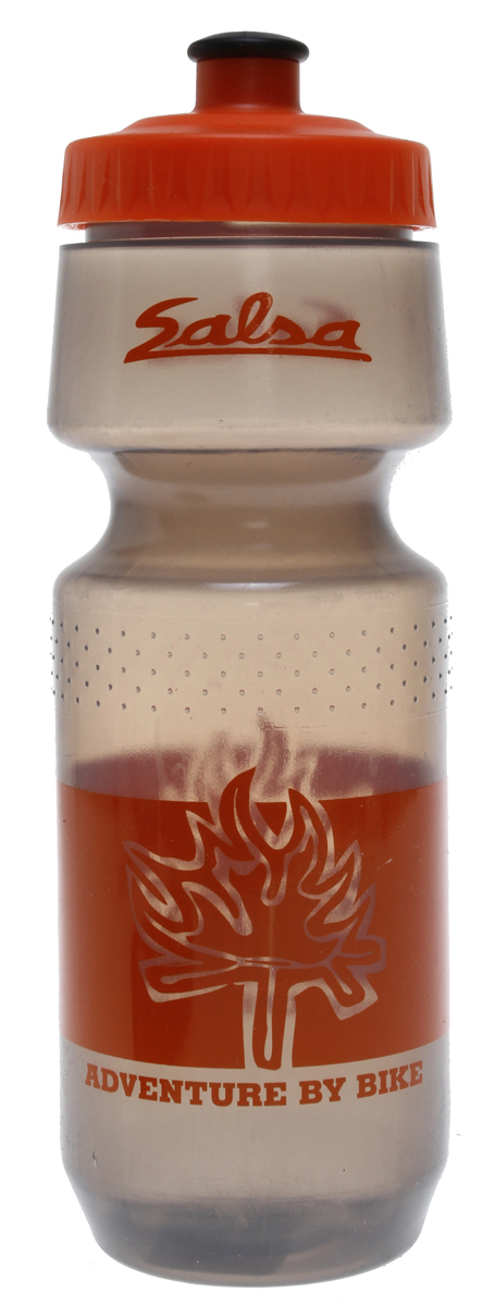 Fitness Quench that thirst with a BPA free, wide mouth water bottle from Salsa.Key Featues of the Salsa Wide Mouth Water Bottle Orange Fire 24oz: Bottle Type: Bike Ounces: 24 fl oz Color: Transparent Gray/Orange Print/Orange Lid Wght/Dims: .17 lbs. 7 x 3 x 3 - $8.95