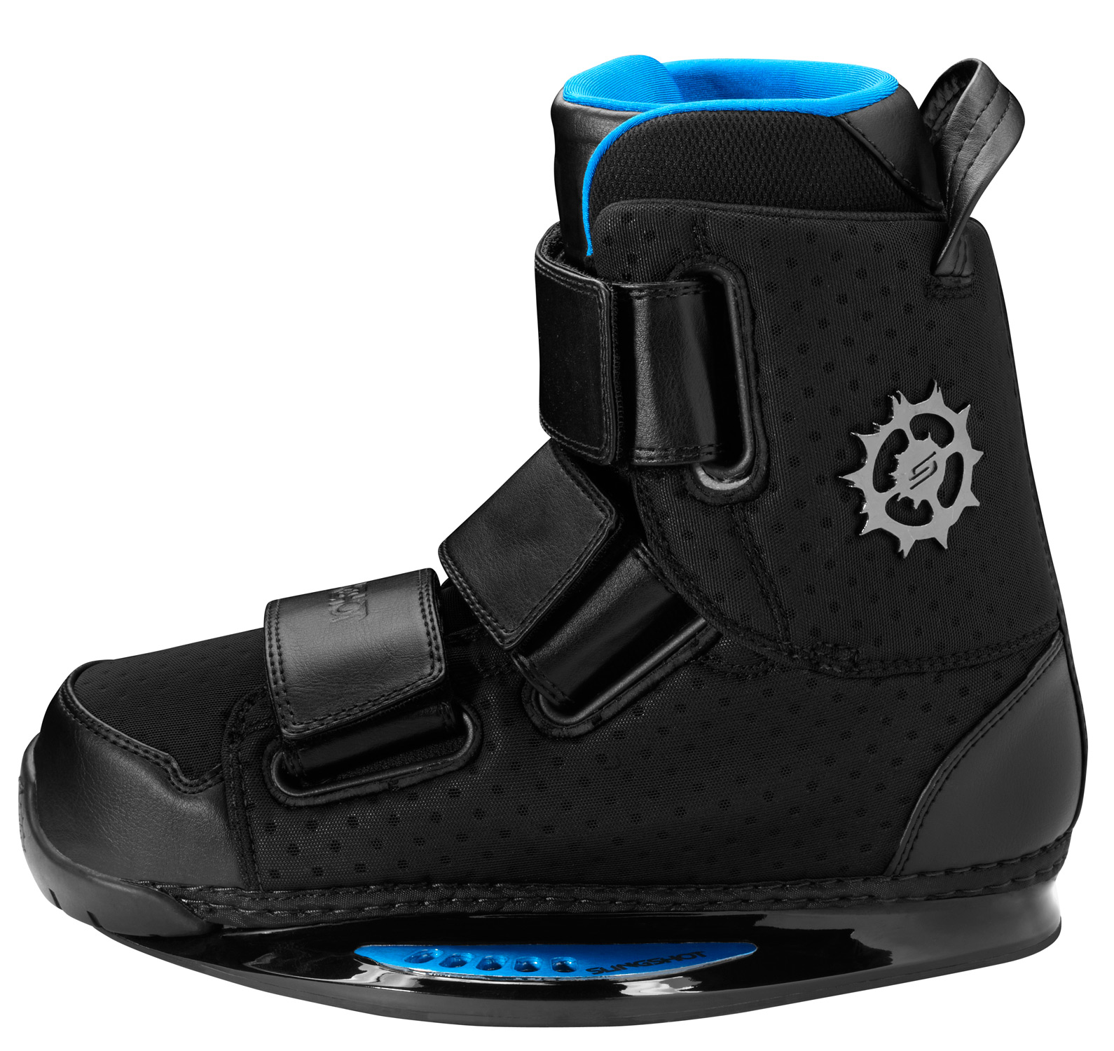 "Wake Designed on the same bottomless base system as our R.A.D.'s, our original 2012 Slingshot KTV boots feature an ultra low profile that offers the ultimate direct foot to board feel. To simplify entry and exit, we've incorporated non-removable, preformed, heat formable liners with our custom designed hybrid tongue. Combined with the new Trifecta Velcro Strap System, this new design gives riders multiple flex options to fit virtually any riding style, and continues to provide an unmatched custom fit. Loosen the straps for extra flex on those stylish grabs, or crank them down for supreme board control, and get your shred on!Key Features of the Slingshot KTV Wakeboard Bindings: Bottomless Base System: much lower profile for ultimate direct foot to board feel Trifecta Straps: customizable Velcro closer system featuring three replaceable straps Centered Flex: articulated mobility with medium flex Double lasted construction: precision liner-in-boot fit Low profile lasting: lasted with Slingshot's custom low profile lasts to eliminate excess material for a better fit and lighter weight NEW Hybrid Tongue: preformed, built in tongue that combines the comfort and fit of our removable liners with a non-removable liner for easier entry and exit when a removable liner is unnecessary Heat Formable Liner: unmatched custom fit Built In J-Bars: eliminates heel lift and adds ankle stability Triple Density Shock System: New and improved three layer shock absorption system New Shox Bed: memory foam footbed that forms to any foot shape every time you step in, and eliminates foot and knee pain New Ortho Koosh: custom orthotic shock foam that cradles the foot to provide maximum stability and board control New G-Sole: using energy displacement, the dura-gel liner base supports and acts as a ""hydraulic"" shock absorber No PVC: we use the highest quality materials available to eliminate solvents which are harmful to our environment and health Slingshot Tested And Approved: proven quality and performance - $318.95"