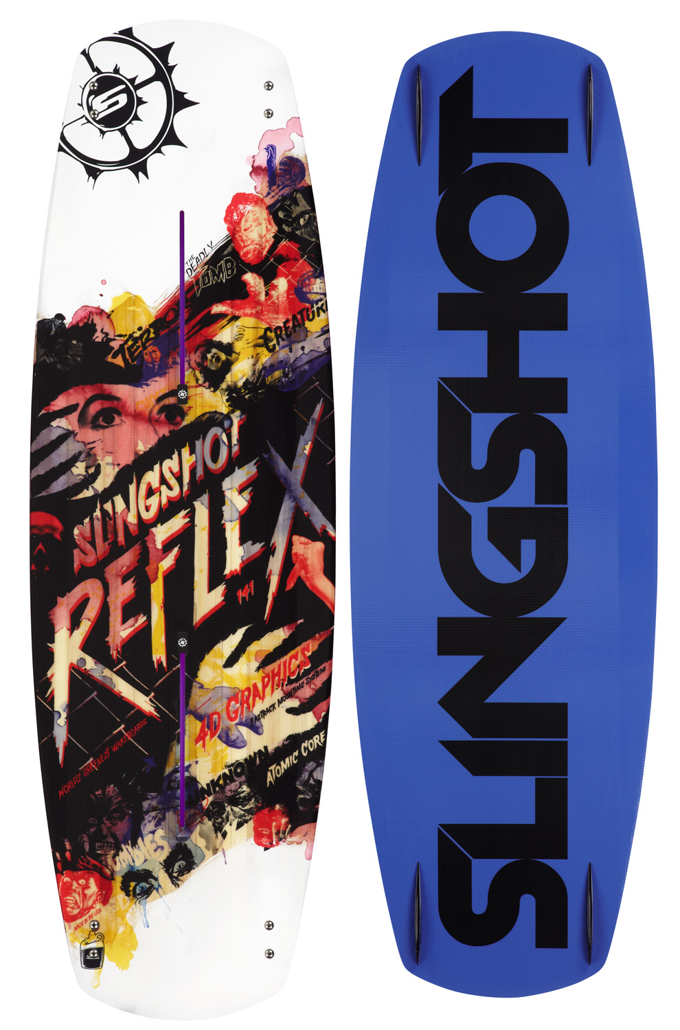 "Wake The 2012 Slingshot Reflex covers all ends of the spectrum. From and afternoon set behind the boat to shredding your local rail park, this is the only board to do it all. The ""Magic Stick"" of wakeboards. Speed, edge control, aggressive pop, smooth landings, and unmatched durability make the new 2012 Reflex the ultimate board, from cable to wake.Key Features of the Slingshot Reflex Wakeboard: Beginner – Advanced Cable Park Dominator Rail Park Shredder Winching Pioneer Freeride Enthusiast Subtle 3-Stage Rocker: massive boosting pop with more speed Future Response Technology™: lighweight, more durable core that offers controlled flex that evenly distributes an explosive energy burst when popping off the wake and on ollies, and absorbs shock on hard landings New Fastrack: new and greatly improved boot mounting system that is stronger, more versatile, and provides superior board connection NEW Atomic Core: all wood - lighter, stronger, and provides the liveliest feel available Singleshot Fusion Sidewalls: high durometer urethane seamlessly fused into the core (The most durable and dampening wakeboard rail ever) Ultra Glide Base: the ultimate board base that provides proven durability Sliderite-SR Chined Rails: makes catching or blowing out your board edges virtually impossible Taperwall: better edge control, added speed stability, sounder handling in rough water and more impact resistant Park Ready Tune: abiliyt to customiaze the board rails to desired shaps Elliptical Concave: quicker edge to edge response 4D Graphic Technology: the latest in graphic technology, giving every board individuality, and four dimensional depth Handmade by Slingshot in the USA: precision finished product using the highest quality materials - $294.95"