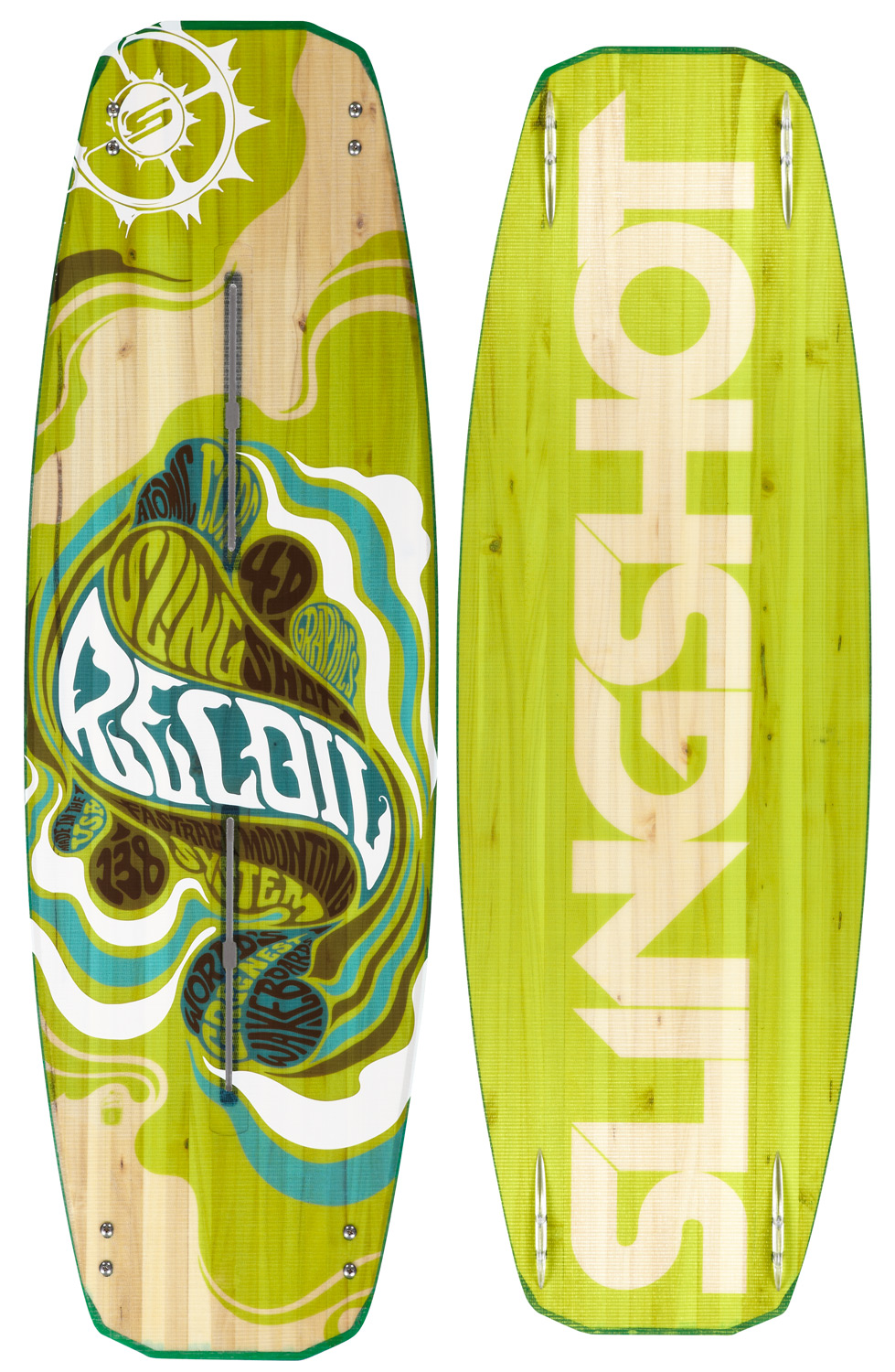 "Wake Featuring three-stage rocker and state-of-the-art flex, the Recoil delivers super-charged aggression at it's finest. Offering powerful kick off the wake and cushy landings in the flats or wake-towake. The Recoil's lightweight Atomic Core generates a pop so explosive you'll be going bigger than ever with ease. Key Features of the Slingshot Recoil Wakeboard: SIZING / RIDER WEIGHT: 134 cm — 75 to 135 lbs. (34 to 61 kg), 138 cm — 105 to 175 lbs. (47 to 79 kg), 142 cm — 145 to 235 lbs. (65 to 106 kg), 146 cm — 155 to 265 lbs. (70 to 120 kg) WIDTHS: 134 — Tip/Tail 26.8 cm / Waist 43.8 cm, 138 — Tip/Tail 28.3 cm / Waist 44.8 cm, 142 — Tip/Tail 28.9 cm / Waist 45.2 cm, 146 — Tip/Tail 28.9 cm / Waist 47.7 cm ROCKER (3-STAGE): 134 cm — 2.75 in., 138 cm — 2.85 in., 142 cm — 2.95 in., 146 cm — 3.05 in. STANCE OPTIONS: 134 cm — 19.25 to 26.5 in., 138 cm — 19.25 to 26.5 in., 142 cm — 21.25 to 28.5 in., 146 cm — 21.25 to 28.5 in. FINS: (4) — 6"" x .75"" Lucid Wake Fin - $369.00"