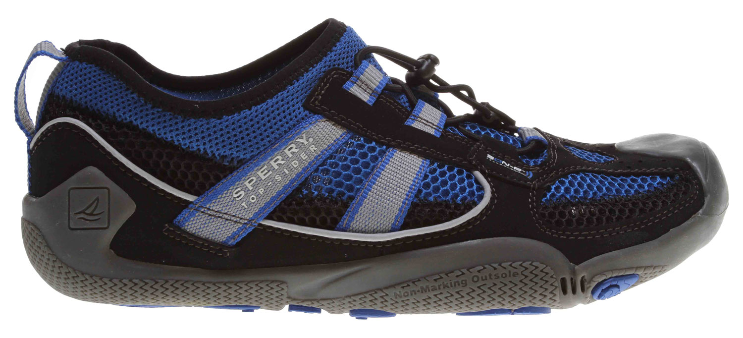 Fitness Sperry Top-Sider SON-R Technology heightens your natural sensory responses to help you feel, think and react to all heart-pounding conditions, land or water. SON-R enhances proprioception by enabling your body to gain improved awareness of what is happening beneath your feet. Our best-in-class technology stimulates performance potential at every stage of your sport. See with your feet with SON-R Technology.Key Fetatures of the Sperry Top-Sider Son-R Feedback Bungee Water Shoes: Metatarsal Pods for Improved Sensory Feedback Delivering Information from the Ground through your Feet to your Brain Hydro-Grip Rubber Outsole Provides Excellent Traction on Various Surfaces Breathable Hydrophobic Meshes Promote Quick Drying Anti-Microbial Linings Minimize Odor Internal Drainage Improves Comfort and Promotes a Quicker Drying Shoe - $44.95