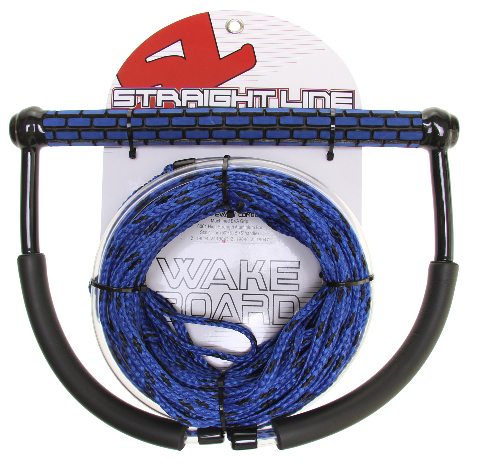 Wake 65'' EVA TR9 W/ STATIC(50''+5''+5''+5'' handle) Straight Line''s Static line is made of a specific blended Polyethylene fiber for the most forgiving wake line, allowing only minimal amounts of stretch. Double braided handle construction along with dual neoprene floats make sure this combo is durable and highly visible on the water. These combos are great for any up and coming athlete, whether it is Wakeboarding, Wakeskating or Kneeboarding. - $37.95