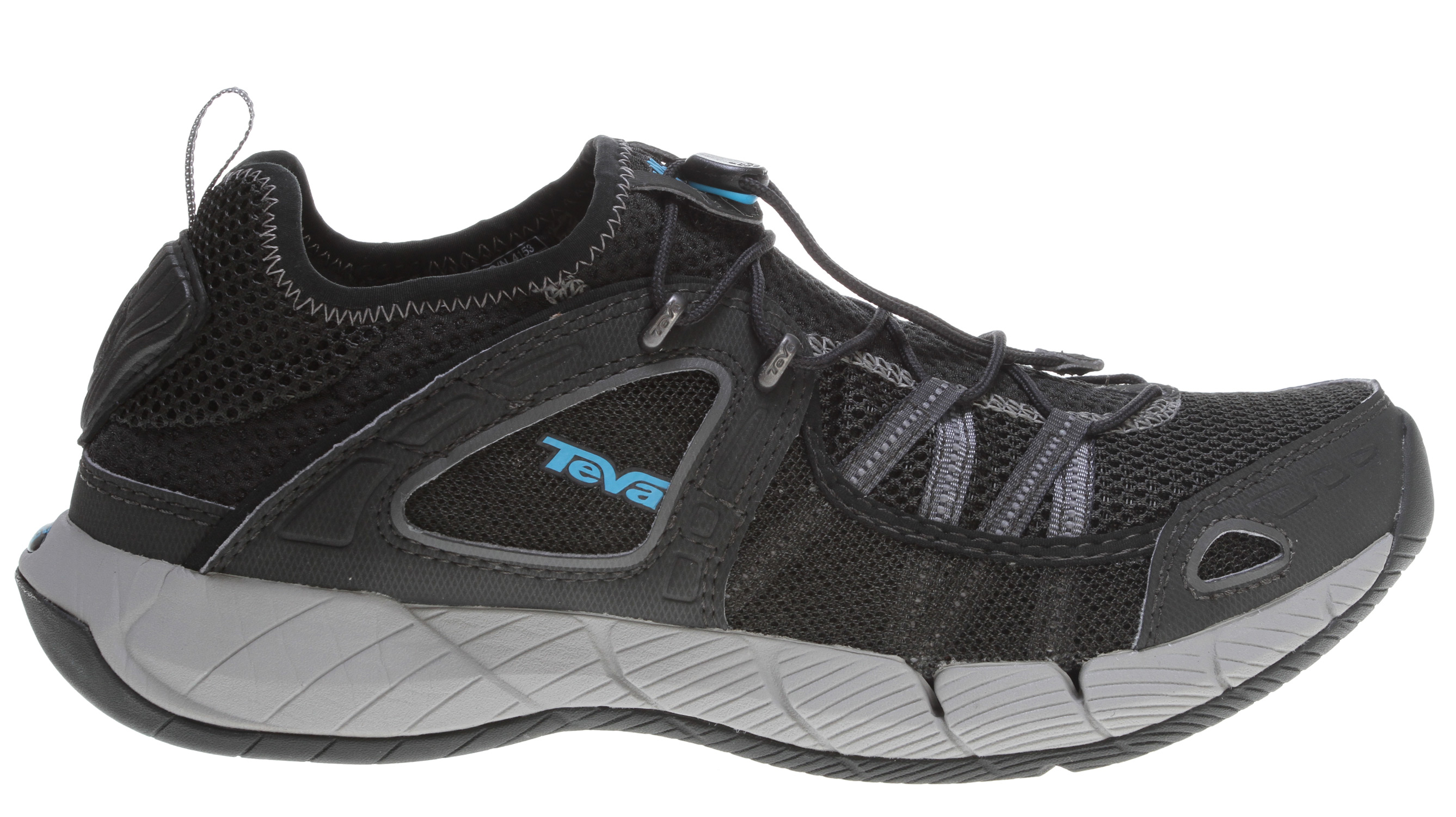 Camp and Hike The Churn is a multi-sport shoe that specializes in getting wet. Its mesh upper is extremely breathable and quick-drying, making it the perfect shoe for those hot summer days when all you want to do is plunge into the water. Back in camp, you can take advantage of the Churn's fold down heel Shock Pad when you just feel like slipping into your shoes. If you're only gonna take one pair of shoes on a trip, you won't go wrong with the Churn (unless you're going to a black tie gala...but even then you might be able to pull it off).Key Features of the Teva Churn Water Shoes: T.I.D.E. GRIP Spider Original rubber outsole for uncompromised grip in wet environments Nylon shank for torsional rigidity and stability T.I.D.E. HYDRO Mesh upper drains water and dries quickly Drainage channels in forefoot allow water to escape T.I.D.E. COMFORT High abrasion synthetic leather and mesh upper Fold down heel with Shock Pad for additional cushioning Compression molded EVA midsole Encapsulated Shock Pad in the midsole for shock absorption - $62.95