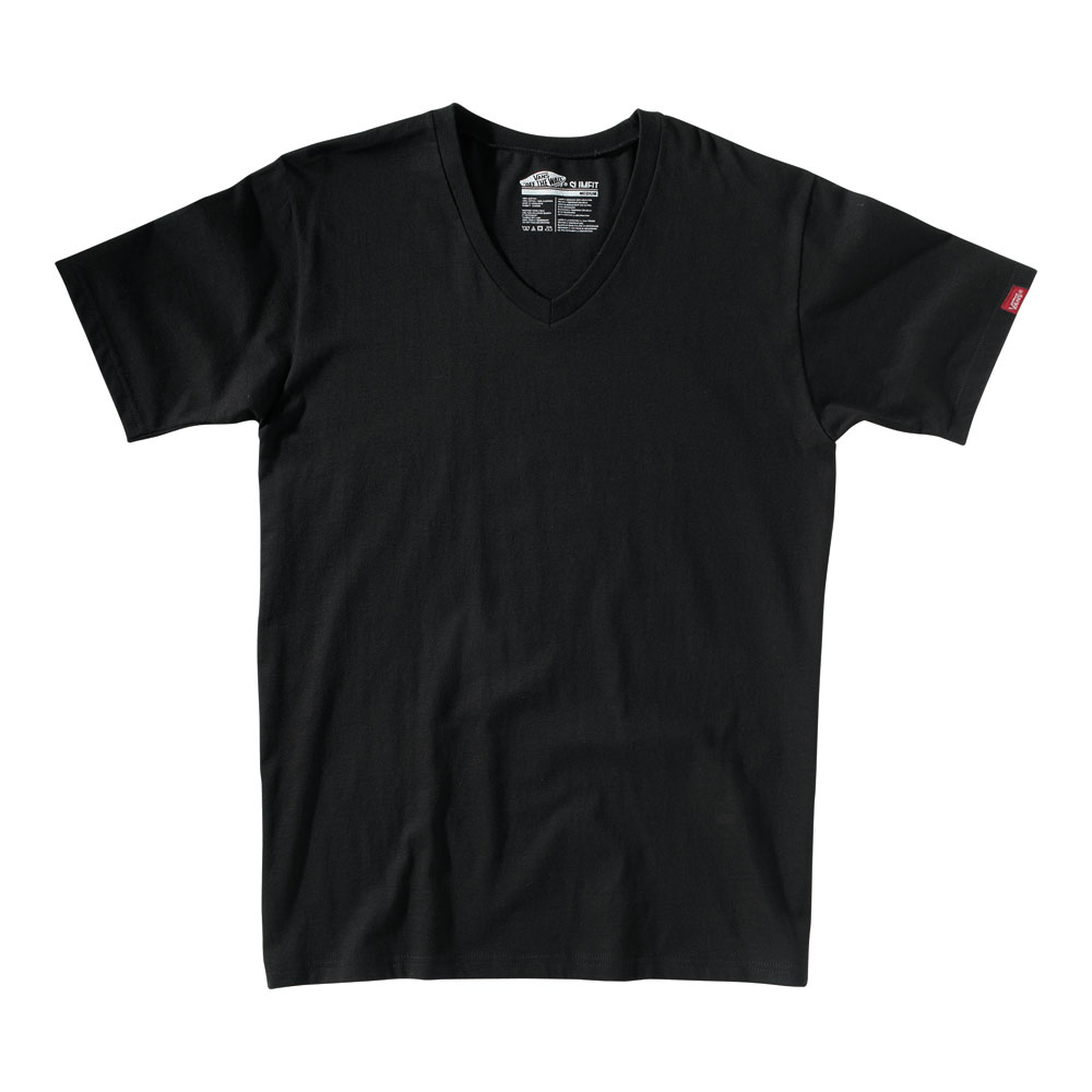 Skateboard Key Features of The Vans Basic V-Neck T-Shirt: Regular Fit V Neck Short Sleeve 100% Cotton Custom Fit 30/1 combed ringspun cotton V-neck tee shirt. 50% Cotton 50% Polyester for heathered colorways. Clip label on sleeve. Core Basics Collection - $18.00