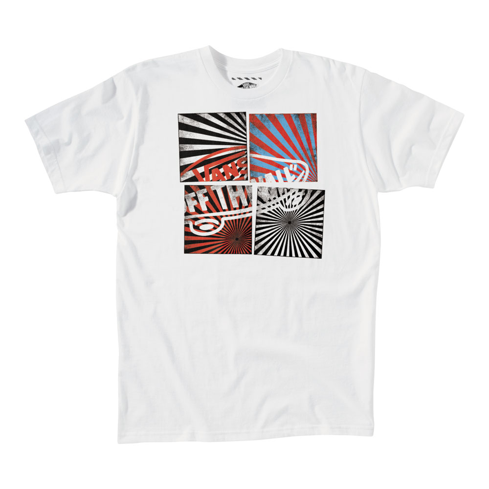 Skateboard Key Features of The Vans OTW Quadrant T-Shirt: Regular Fit Crew Neck Short Sleeve 100% Cotton Classic Fit 5.5 oz. ringspun cotton tee shirt Front chest screen print with water-based or softhand plastisol ink treatment Clip label on back hem - $9.95