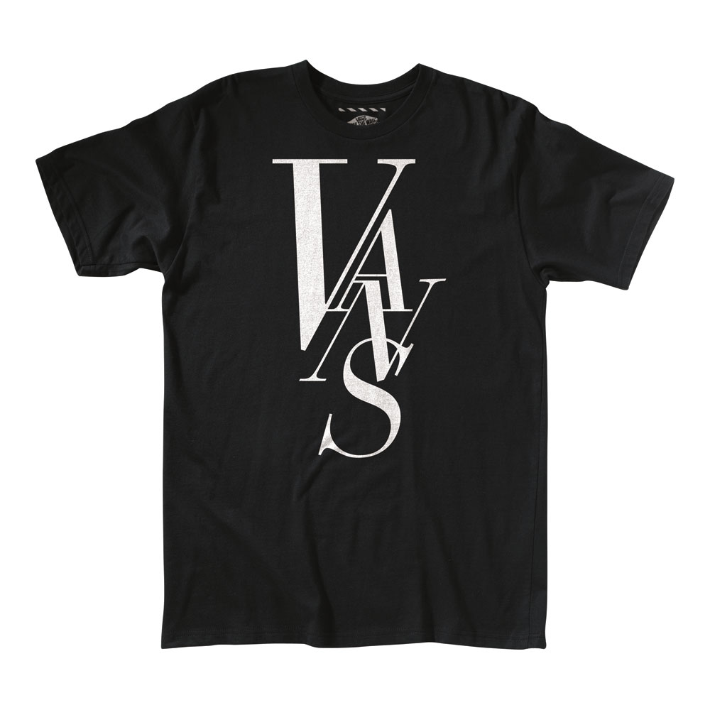 Skateboard The Vans Typeface T-Shirt is a really simple t-shirt that goes great with whatever you got in your wardrobe. The logo in the front adds to the t-shirt without being too overbearing, which some designers make the mistake of doing. This is not some low quality t-shirt like some of the others on the market. All in all, it looks great and will be a welcome addition in your closet.Key Features of The Vans Typeface T-Shirt:  Regular Fit  Crew Neck  Short Sleeve  100% Cotton Classic Fit 5.5 oz. ringspun cotton tee shirt  Front chest screen print with water-based or softhand plastisol ink treatment  Clip label on back hem - $7.95
