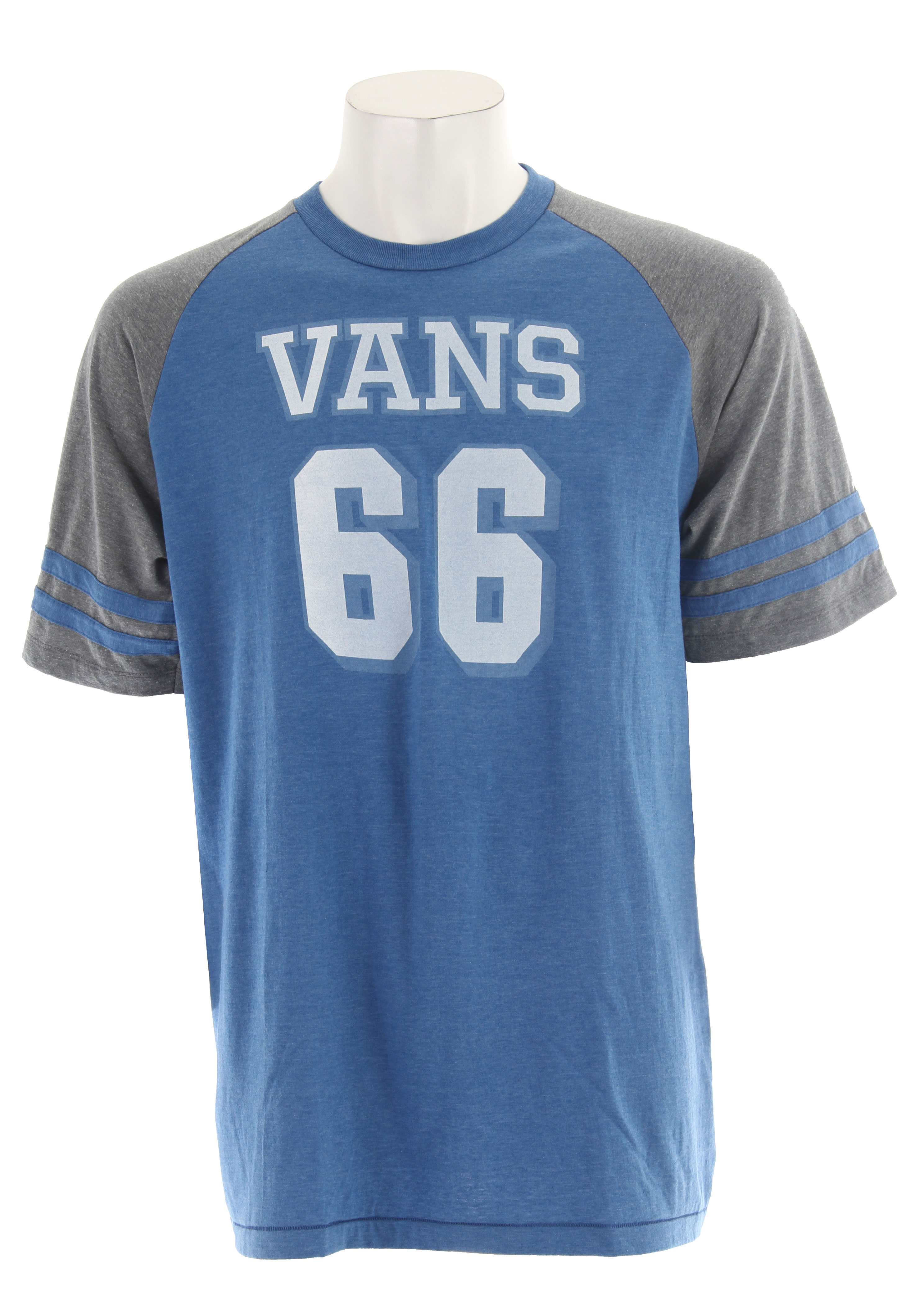 "Skateboard Whether you're skating with your friends, or just need another shirt to add to your collection, you need the Vans Team Vans T-Shirt. The shirt features 50% Cotton, 50% Polyester, 30/1 Custom Fit 4.5 oz. combed ringspun cotton raglan, for the ultimate blend in comfort and durability. Look your best at the skate park this weekend in the Team Vans T-Shirt.Key Features of The Vans Team Vans T-Shirt:  Regular Fit  Crew Neck  Short Sleeve  50% Cotton, 50% Polyester 30/1 Custom Fit 4.5 oz. combed ringspun cotton raglan  ""Vans 66"" screenprinted art on chest with self applique stripes on sleeves  Pick stitch detail on bottom hem  Garment wash for soft handfeel - $9.95"