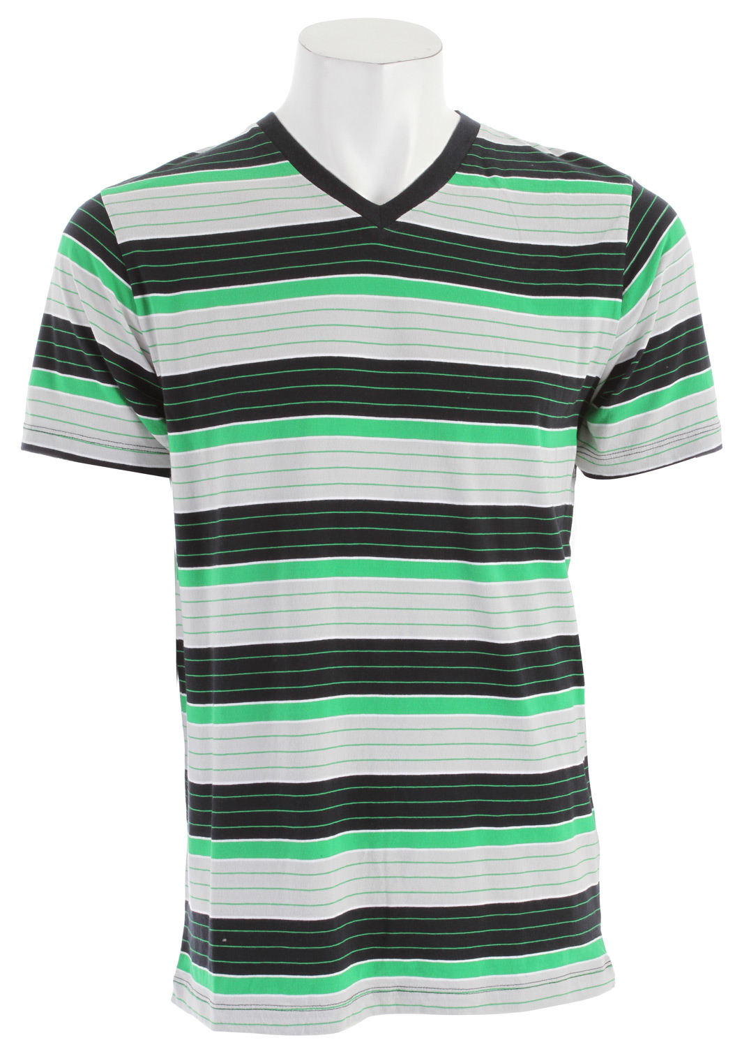 Skateboard Key Features of The Vans Lerok T-Shirt: Regular Fit Crew Neck Short Sleeve 100% Cotton jersey yarn dye stripe V-Neck shirt Contrast hazard stripe taping inside neck Vans clamp label on back bottom hem Garment wash with softeners - $26.95