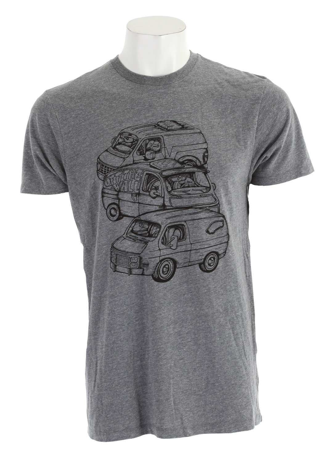 Skateboard Key Features of The Vans Shaggin Wagon T-Shirt: Regular Fit Crew Neck Short Sleeve 50% Cotton 50% Polyester Custom Fit 30/1 combed ringspun cotton crew neck tee shirt Jumbo front chest screen print Clip label on back hem - $21.95