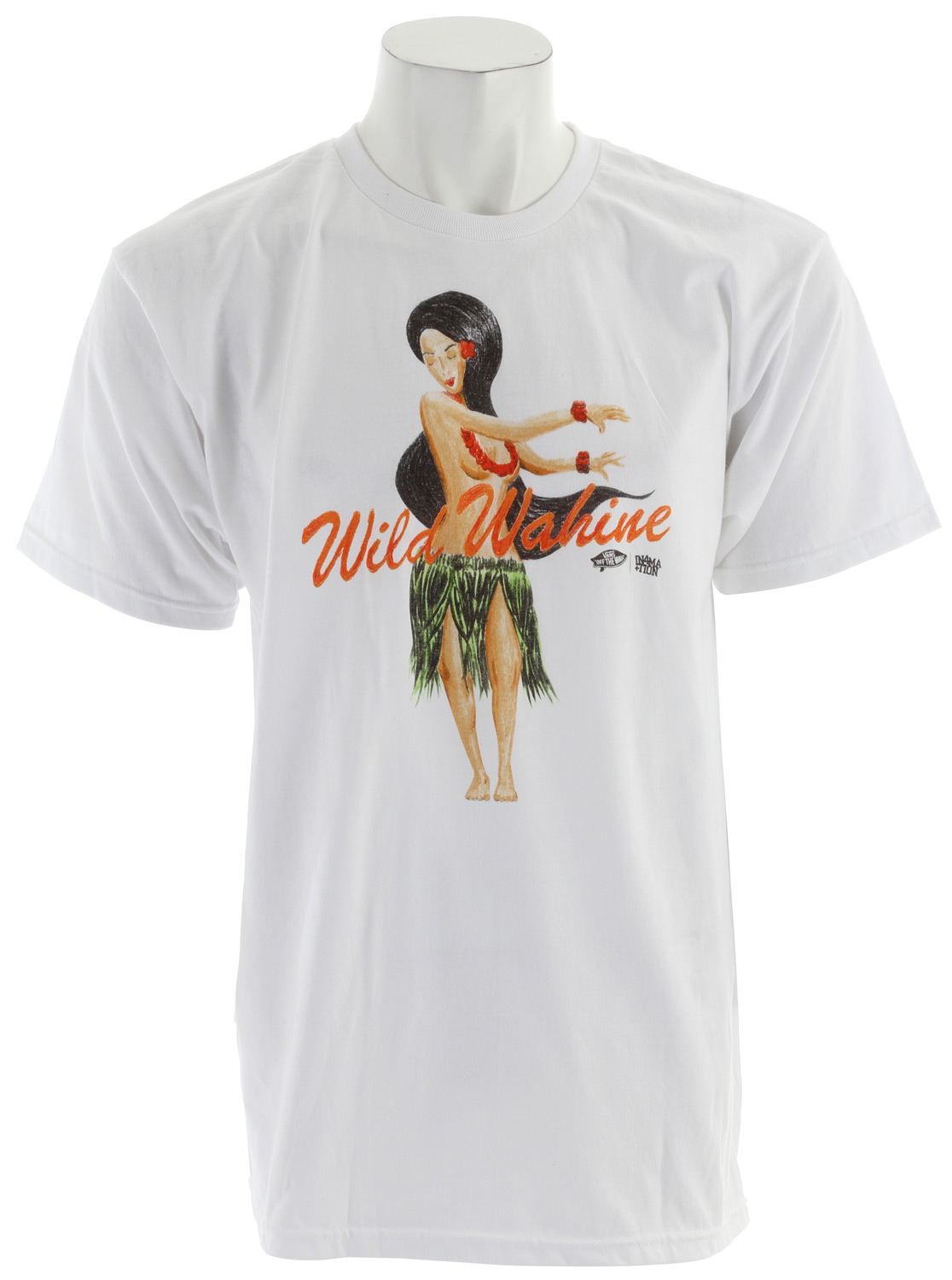 Skateboard Key Features of The Vans X In4Mation Wild Wahine T-Shirt: Regular Fit Crew Neck Short Sleeve 100% Cotton Classic Fit 5.5 oz. ringspun cotton tee shirt. Jumbo front screen print. Clip label on lower back. - $13.95