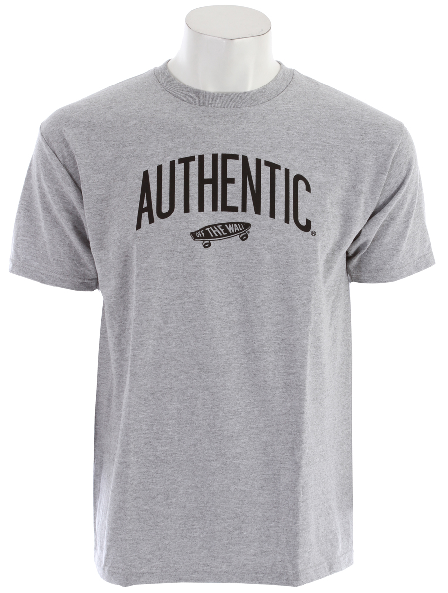 Skateboard Key Features of the Vans Authenticity T-Shirt:  90% Cotton 10% Polyester Classic Fit 5.5 oz ringspun cotton tee shirt  Clip label on sleeve. - $13.95