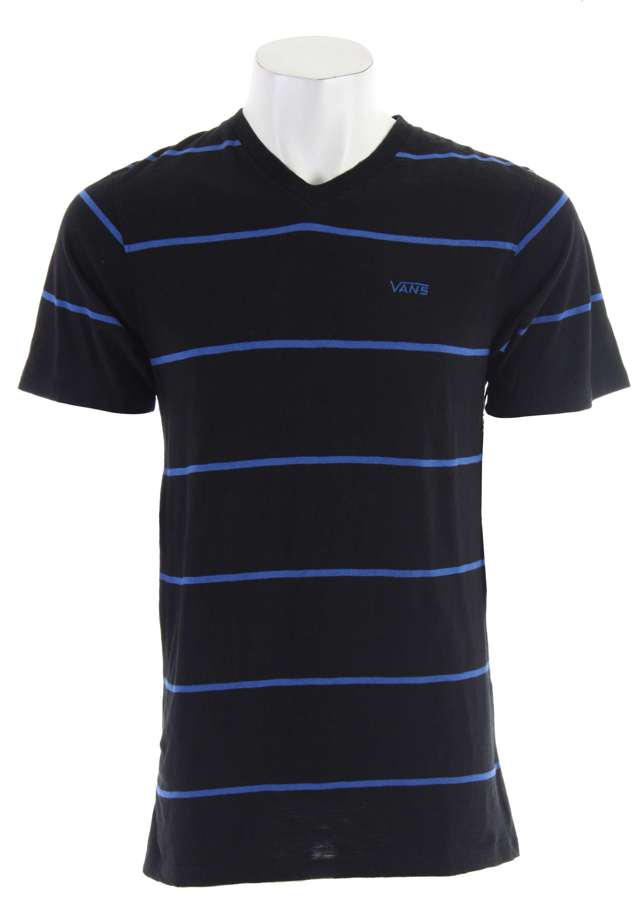 Golf The striped Vans Diffuse T-Shirt offers the clean look of a polo or golf shirt in the form of a comfortable and versatile V-neck tee. Their premium material construction also proves to be durable and breathable enough for more strenuous action sport wear. On the chest is an original Vans logo embroidery. Made of soft 100% cotton. - $27.95