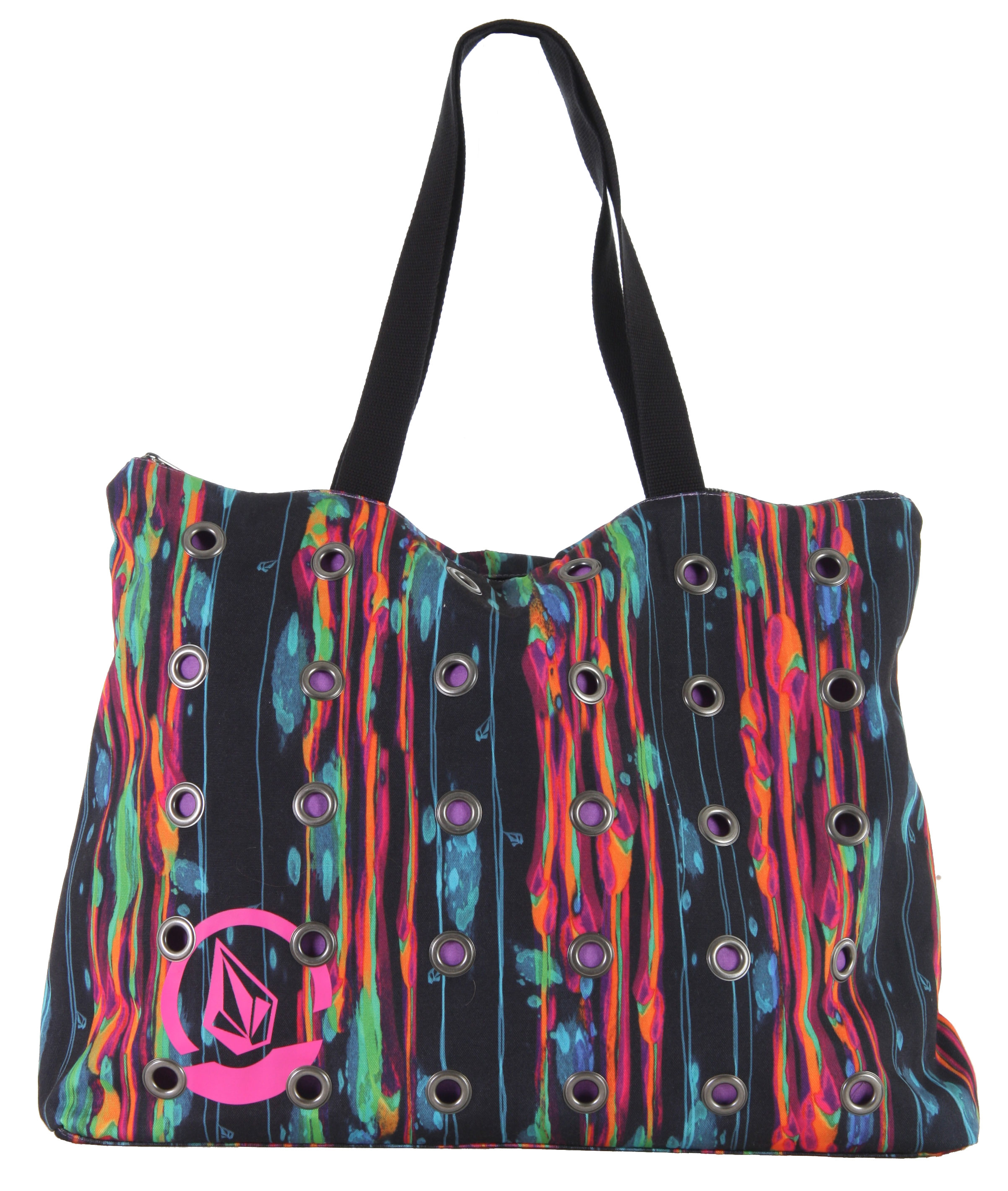 "Surf The Hardbody Beach Tote by Volcom makes it easy to maintain your accessories in style. This tote includes a circle stone high quality screen print with grommet details, and is made of 100% soft spun polyester. The Hardbody Beach Tote features a top zipper closure, as well as an interior zipper pocket, ensuring that your clothing and accessories stay organized and separate. This stylish bag has measurements of 20""W X 16""H X 5""D, which means this tote by Volcom is not only attractive and functional, but spacious as well.Key Features of the Volcom Hardbody Beach Tote: 100% Polyester. Soft Spun Polyester Beach Tote With Circle Stone Screen Print And Grommet Details. Zipper Top Closure And Interior Zipper Pocket. 20""W X 16""H X 5""D At Base. - $24.95"
