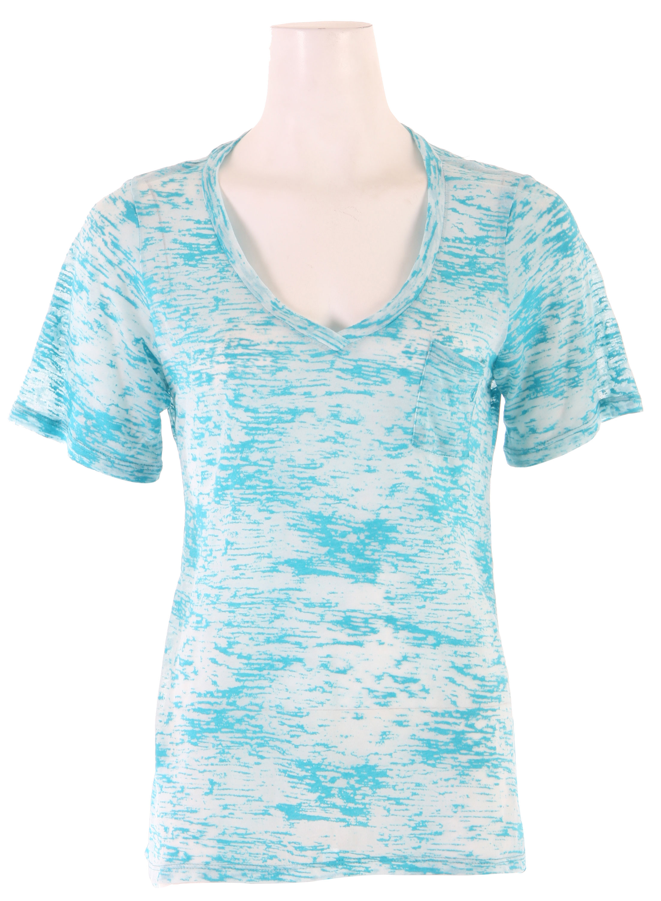 "Surf It can be hard to find sports clothing for ladies that looks feminine but Volcom Moclove V-neck Pocket T-Shirt is a t-shirt made for a woman's fit. Fashionable, sporty and comfortable, the Volcom Moclove V-neck lets women who take pride in being top in their sport to also portray their beauty. The cotton-polyester blend jersey works hard with you but stays adorable. The trendy design also shows that you are a woman who is not afraid to work hard when on the slopes.Key Features of the Volcom Moclove Vneck Pocket T-Shirt: 65% Polyester/35% Cotton Burnout Jersey. Solid Jersey Circle Tee With Patch Pocket At Front Chest. 3/4"" Stone Embroidery At Wearer's Front Pocket. Volcom Clamp Label At Wearer's Front Left Hem. - $15.95"