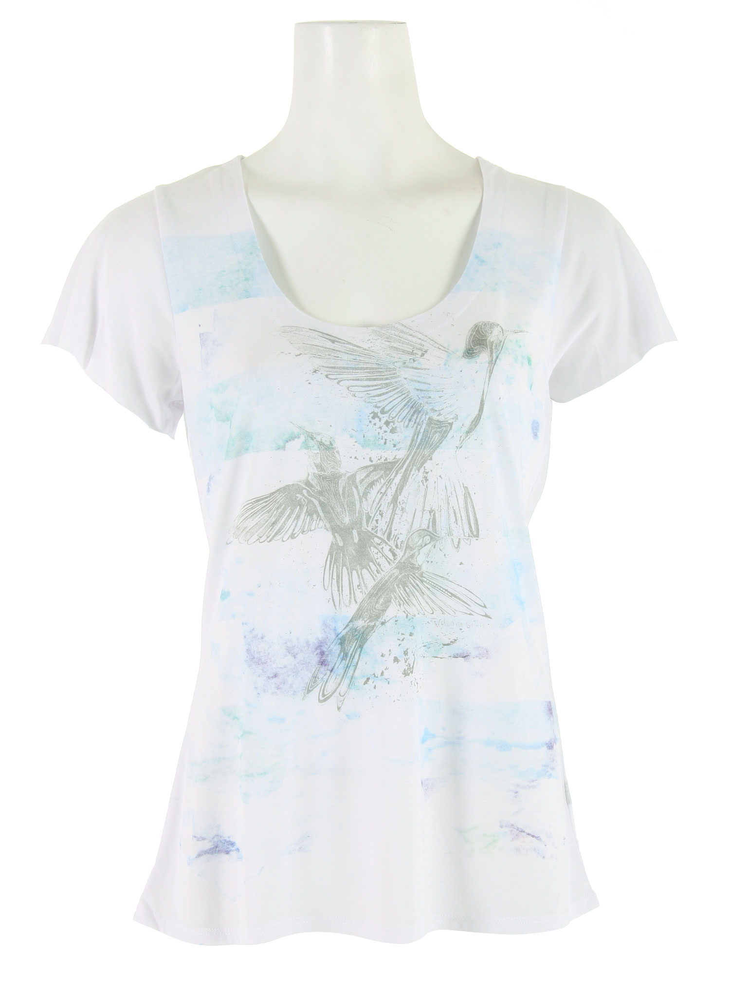 "Surf This Volcom floral cotton and viscose blend knit jersey T-shirt is the perfect fashion statement. Pretty and flirty, with flutter sleeves and a flattering scoop neck design, this product has the upscale detailing you would expect from Volcom. The 25-inch length means that this shirt will work with nearly any pair of jeans you could pair it with. The design includes four color eco-friendly ink, artistically rendered birds with a contemporary pastel flair.Key Features of the Volcom Floral Haze Lyric T-Shirt: 65% Polyester/35% Viscose Jersey, 125Gm. Scoop Neck Tee With Flutter Sleeves And Shirttail Back. Detailed With Layered 4-Color Process Waterbase Ink Screen At Front Body. 25"" Length. - $19.95"