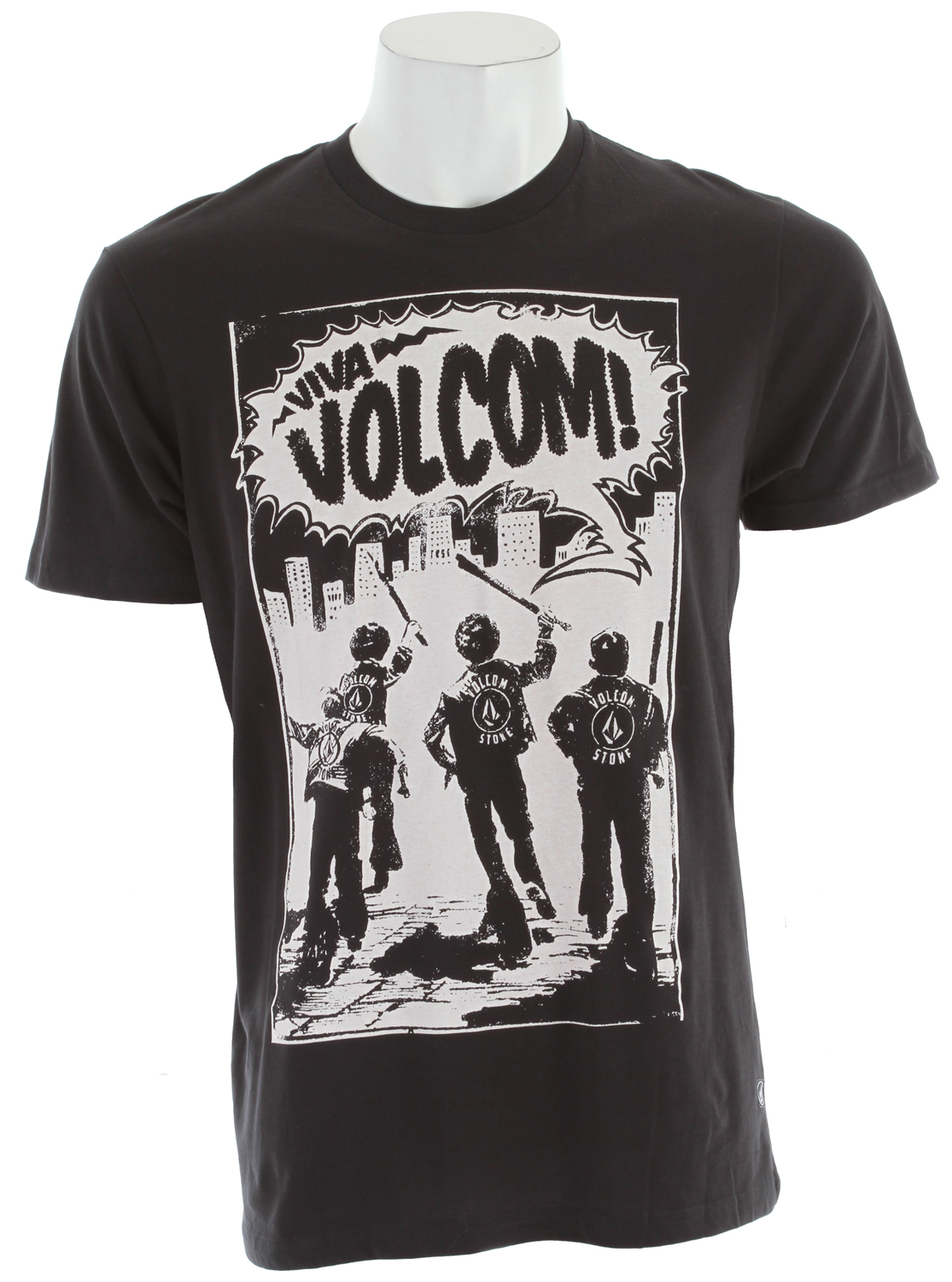 Surf Key Features of The Volcom Youth Squad T-Shirt: Regular Fit Crew Neck Short Sleeve Basic screenprint Contrast neck tape Modern Fit 100% Organic Cotton - $13.95
