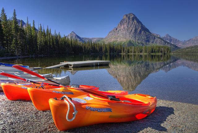 Kayak and Canoe the shore of Two Medicine Lake in Glacier National Park