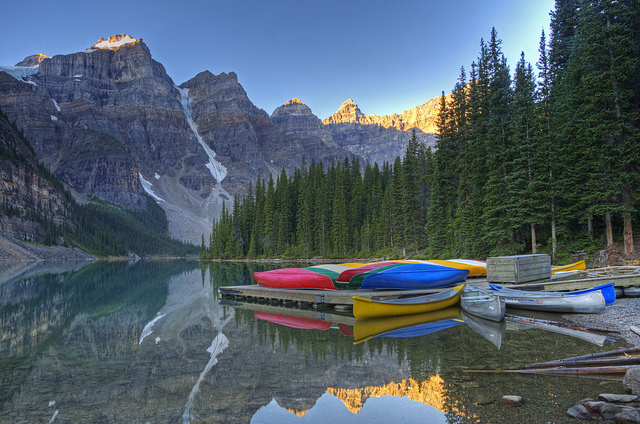 Kayak and Canoe peaceful morning at Moraine Lake