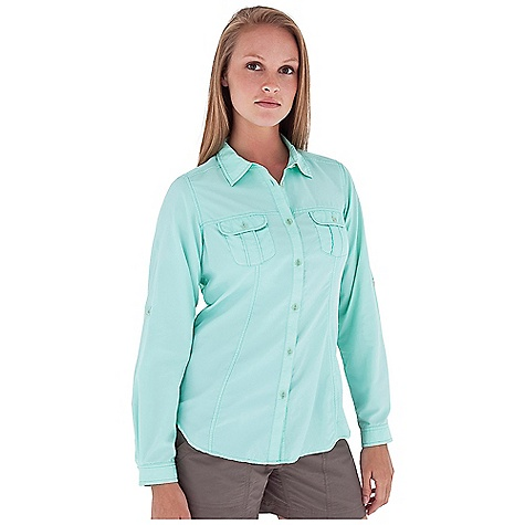 Entertainment On Sale. Free Shipping. Royal Robbins Women's Shore Line L-S Top DECENT FEATURES of the Royal Robbins Women's Shore Line Long Sleeve Top Tonal stitching details Mesh lined yoke Roll-up sleeve tabs Zip secured pocket Shirt tail hem The SPECS Regular fit Standard length Fabric: Whisper Weight 2.5 oz 100% Nylon UPF 50+ - $48.97