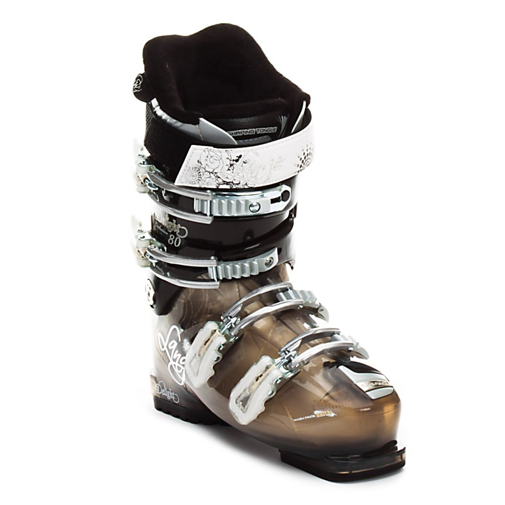 Ski Lange Exclusive Delight 80 Womens Ski Boots - A comfortable boot both on and off trail the Exclusive Delight 80 is a great boot for the adventurous intermediate to casual advanced ladies out there. Starting with a relaxed and slightly roomy 102mm forefoot the Delight 80 offers a versatile fit for all but the narrowest feet while keeping the strong heel pocket. The 80 flex delivers a solid performance with great response and the slight forgiveness that makes learning to ski off piste a bit easier. When combined with Natural Stance geometry which uses an upright stance and longer range of motion to create a balanced feel with big rebound energy the result is a boot that fits great, has power and is very responsive. The Control Fit liner has a goose down lining to make it one of the warmest boots and adds some extra cushioning as well. The liner also gets a scalloped shape in the calf for a more comfortable fit on your leg and better circulation for warmth. You'll have 4 microadjustable buckles, single cuff alignment and a powerstrap for dialing in the perfect fit. When it comes to reliable performance both on and off trail few boots balance comfort, forgiveness and performance as well as the Exclusive Delight 80. . Actual Flex: 80, Cuff Alignment: Single, Warranty: One Year, Gender: Womens, Special Features: Control Fit Liner, Ski Boot Width: Medium (100-103mm), Special Features: Natural Stance, Flex: Medium, Race: No, Used: No, Ski/Walk: No, Prewired For Heat: No, Number of Micro Buckles: Four, Freestyle: No, Sidecountry: - $149.93