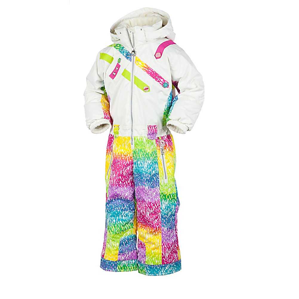 Ski Obermeyer Peace Girls One Piece Ski Suit - Hippest suit on the hill. The Obermeyer Peace Toddlers One Piece Ski Suit has the old school cinch up at the waist and full coverage look. Well, there's no doubt your child will be warm and cozy being outdoors participating in their winter activity, as they are protected from top to bottom. With head to toe coverage - it will be hard for the warm air to escape and no cold breeze can sneak in. The Obermeyer Peace Ski Suit keeps their tummies covered without even trying. The high collar snuggles their neck and chin, while the hood acts as extra warmth wearing it over their hat. They can use their individual personality as they pick out their favorite design and color of the coolest One Piece Ski Suit by Obermeyer. Features: Reflective piping, Cargo pocket, Elastic sleeve cuffs, EWS Extended Wear System - pant hems, Fleece earwarmers, Fleece inside collar and chin protector, Fleece-lined cuffs, Reinforced, double layer seat and knees, Heavy duty zippers, Inside goodie pocket, Internal zipper windguard, Removable hood w/auto-adjust safety design, Reinforced, double layer seat and knees. Exterior Material: 53% Recycled polyester, 47% polyester, Insulation Weight: 120g, Taped Seams: Critically Taped, Waterproof Rating: 5,000mm, Breathability Rating: 5,000g, Hood Type: Removable, Pit Zip Venting: No, Pockets: 1-3, Electronics Pocket: No, Goggle/Sunglasses Pocket: No, Powder Skirt: No, Bearing Grade: High Performance, Hood: Yes, Warranty: Lifetime, Use: Ski, Battery Heated: No, Race: - $69.94
