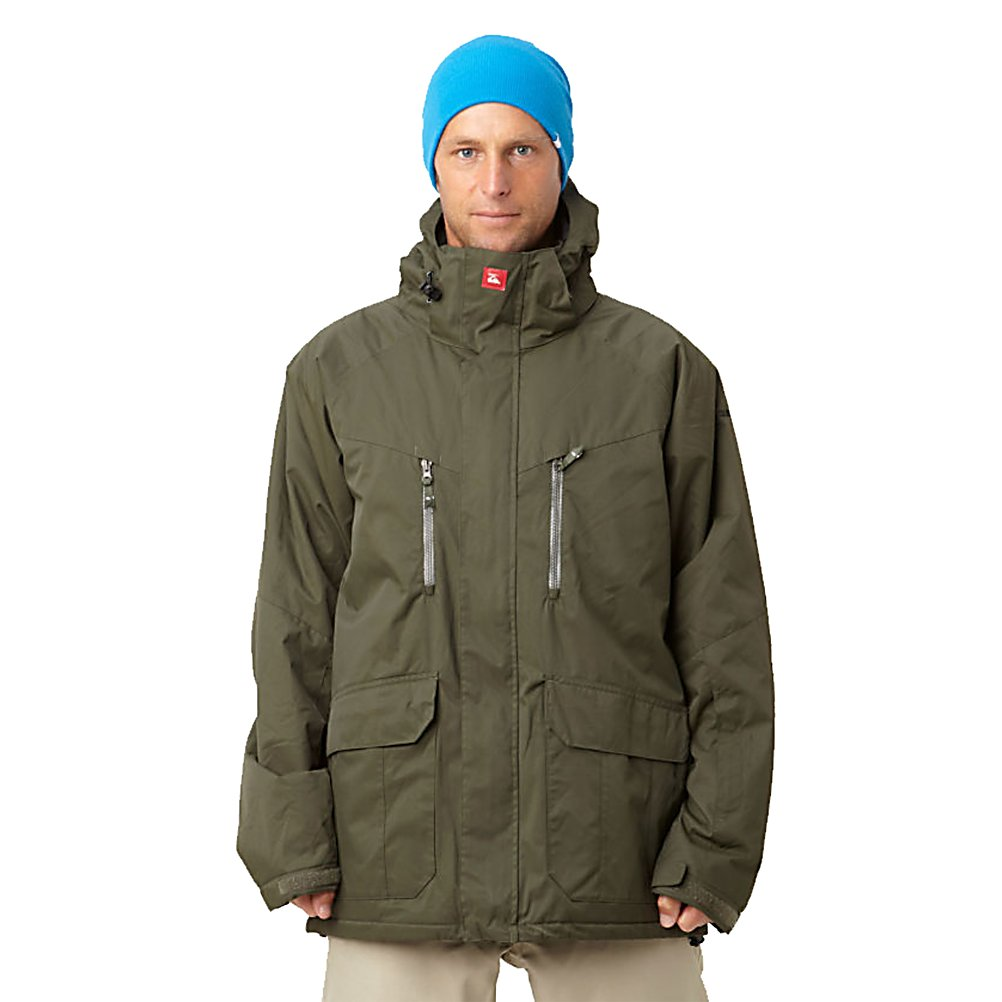 Snowboard Quiksilver Piranha 5K Mens Shell Snowboard Jacket - The weather on the mountain can get mean so you need a ferocious creature to combat the harshness of winter. The Piranha is the way to go. With the Piranha 5K Shell Snowboard Jacket by Quiksilver you'll have a waterproof and breathable jacket that will keep you warm, dry and comfortable in the chilly winter weather. With its Taffeta Lining you will have a very soft and cozy feel inside the jacket to help add to the warmth. There are plenty of pockets for storing anything you'll need close by including a goggle pocket and an internal media pocket. Glove Loops and Key Clip make carrying a little easier. The Quiksilver Piranha 5K Shell Snowboard Jacket is a great buy to help keep you comfortable on those frigid winter days. Features: Technical powder skirt. Exterior Material: Polyester melange herringbone, Insulation Weight: N/A, Taped Seams: Critically Taped, Waterproof Rating: 8,000mm, Breathability Rating: 5,000g, Hood Type: Fixed, Pit Zip Venting: Yes, Pockets: 4-5, Electronics Pocket: Yes, Goggle/Sunglasses Pocket: Yes, Powder Skirt: Yes, Bearing Grade: Performance, Hood: Yes, Warranty: One Year, Use: Snowboard, Battery Heated: No, Race: No, Type: Shell, Cut: Regular, Length: Medium, Insulation Type: None (Shell), Waterproof: Mild Waterproofing (5,001 - 10,000mm), Breathability: Low Breathability (< 5,000g), Cuff Type: Velcro, Wrist Gaiter: No, Waterproof Zippers: No, Cinch Cord Bottom: Yes, Model Year: 2012, Product ID: 307384, Model Number: KKMSJ504-ARM XS, GTIN: 08833568 - $79.95