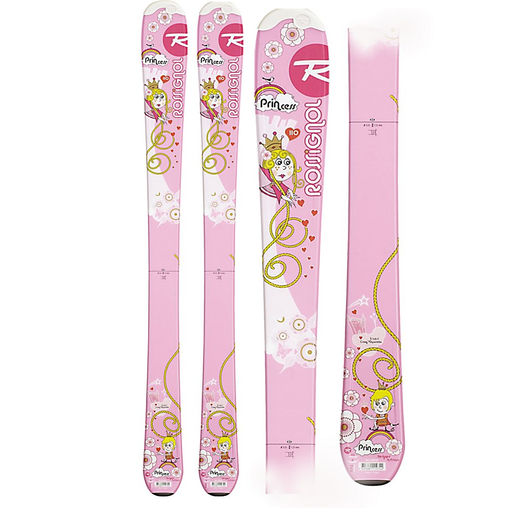 Ski Rossignol Princess Girls Skis - Start your little lady out right on the easy-to-manage Rossignol Princess Junior Alpine Ski - you'll definitely help foster her love for the sport. A great learning platform, the Princess Jr Ski's lightweight Micro Cell foam core provides a forgiving flex for easy turn initiation and maneuverability. The Micro Cell material also serves as a vibration dampening mechanism that doesn't compromise responsiveness. Cute, girly graphics that match the Rossi Fun Girl Boots are protected by the Rossitop topsheet which takes all kinds of abuse without chipping or ruining the graphics. The Rossignol Princess Junior Skis are forgiving enough for making your little girl's first tracks but has the technology behind it to help her progress to an advance intermediate skier. . Tip/Waist/Tail Widths: 100/67/87mm (@120cm), Actual Turn Radius @ Specified Length: 8m(80cm), Warranty: One Year, Type: Frontside Skis ( - $69.91