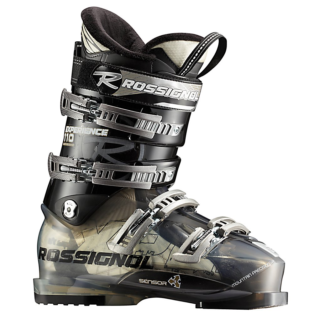 Ski Rossignol Experience Sensor3 110 Ski Boots - The Rossignol Experience Sensor 110 is a great boot for the advanced to expert skier that has a wide forefoot, and medium to wide shaft of the leg. The Neutral Stance gives you more control, better balance, and reduces fatigue. The 110 flex is perfect for strong skiers, or bigger, taller guys to give you support and rebound. A molded PU liner is stiff, and takes some time to pack out so you can ensure that your boots will fit properly for many seasons. A V shaped lasted Sensor Liner in the forefoot, has a contoured fit, defined heel pocket, and an asymmetrical toe box to keep your foot locked in, and secure. Sensor Fit Liners have an open instep, and accommodating ankle area, for comfort, and warmth. Rossignol makes the Experience 110 easy to enter and exit, by adding notches along the instep without compromising the four buckle overlap performance. The Rossignol Sensor fit liner has a one piece tongue and toe box to create a more comfortable toe box, true-lasted liner, padding in all of the anatomically correct places to securely grab your foot, an instep pocket, and a self shaping tongue to eliminate instep pressure and shin bang. If you are a bigger taller skier, with a wide foot who needs a wider fit, but does not want a mushy soft boot, the Rossignol Experience Sensor 110 will be a great boot for you Features: V Shaped Last. Actual Flex: 110, Cuff Alignment: Single, Warranty: One Year, Gender: Mens, Special Features: Neutral Stance, Ski Boot Width: Medium (100-103mm), Sp - $249.93