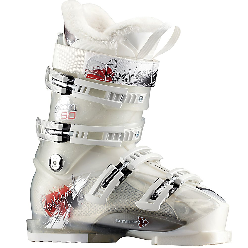 Ski Rossignol Electra Sensor3 90 Womens Ski Boots - The Rossignol Electra Sensor3 90 is one of the best-fitting 100mm boots that have ever been made. They feature an unusually articulate heel area, an accurate pre-molded liner and direct sensory input between the foot and shell. This shell may just be the most versatile fitting boot on the market today. The Sensor 90 features a Pro Fit women's specific liner that matches the internal shell perfectly, giving you the best out of box fit. The pre-shaped precise padding will hold the narrow woman's heel securely and the seamless toe box eliminates pressure points around the toes to ensure your feet stay warm and comfortable. There are notches in the lower shell to allow you to get into the Sensor 90 quick and easy. Sensor3 Concept takes your three balance points in the big toe, little toe and heel and have them sit closer to the shell for added feel and power. The diagonal buckles provide an angled design that is effortless to use and will pull your foot back into the heel pocket. . Actual Flex: 90, Cuff Alignment: Single, Warranty: One Year, Gender: Womens, Special Features: F.I.T. (Feminine Intuitive Technology), Ski Boot Width: Medium (100-103mm), Special Features: Sensor 3 Shell, Flex: Stiff, Used: No, Ski/Walk: No, Prewired For Heat: No, Number of Micro Buckles: 4, Freestyle: No, Sidecountry: No, Forefoot Width: 100mm at Reference Size 25.5, Flex Adjustment: No, Buckle Count: 4, Buckle Material: Aluminum, Category: Downhill, Ski Gear Intended Use: All Mountain, Instep Height: - $169.93