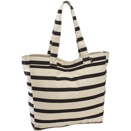 The sporty printed cotton Nixon Women's Tree Hugger Tote carries all your goodies for a full day of fun or an overnighter. Pack this easy-care tote with your essentials and toys; put your keys, ID, or other important items in its zippered interior pocket. A magnetic closure lends some structure and security to this breezy bag. - $29.71