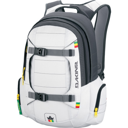 Snowboard Don't ask us why professional skier Tanner Hall's pro-model DAKINE Team Mission Backpack has snowboard carry straps. The only one that knows is Jah. - $79.95
