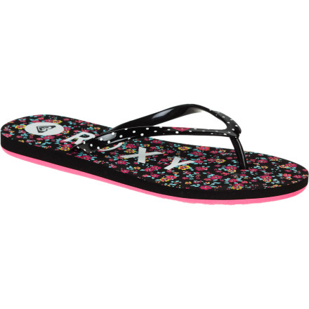 Surf Your little beach-lover is one of a kind, so she'll appreciate the unique surfer-girl look of the Roxy Girls' Pebbles II Sandal. Fun-loving contrasting prints on straps and footbed will put a permanent smile on her sun-kissed face. - $12.80
