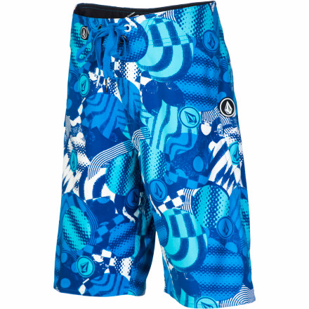 Surf The only other thing he cherishes as much as his surfboard is the Volcom Boys' Maguro Circles Board Short. Its cool style, 19in outseam, and stretchy fabric keeps him super-comfortable while he lies on his board and waits for another set to roll in. - $41.95