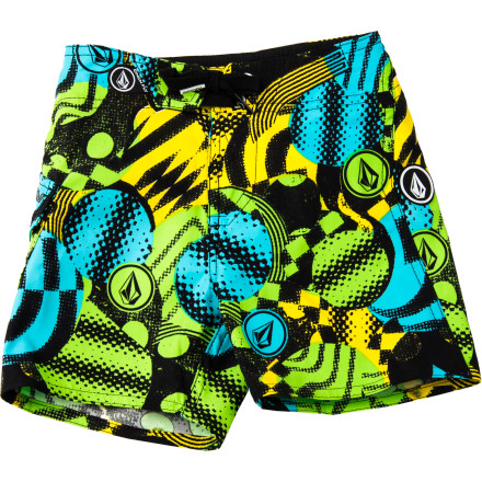 Surf Swoops, swirls, and lots of colorful style give the Volcom Toddler Boys' Maguro Circle Board Short a look perfectly fitting for ocean fun. An elastic waist, cinch-tie fly, and two-way stretch provide tons of all-day active comfort, and a stylie side pocket holds ice-cream money. - $29.37