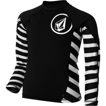 Surf Be sure to throw on the Volcom Boys' Radiant Long-Sleeve Rashguard if you plan on spending hours out in the surf and don't want to end up shivering in the line-up with the big boys. - $29.45