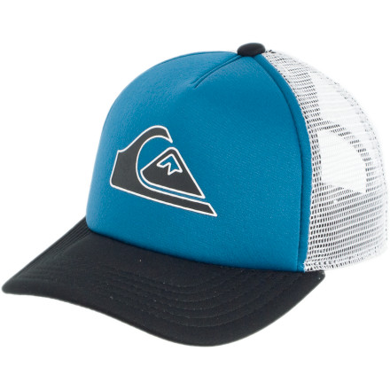 Surf Keep the Quiksilver Boys' Good Times Trucker Hat rolling. A snap-back closure adjusts to all sizes of heads, so you can loan this to your buddy to cover up his head after you and the gang shave off half his hair while he's sleeping. - $12.75