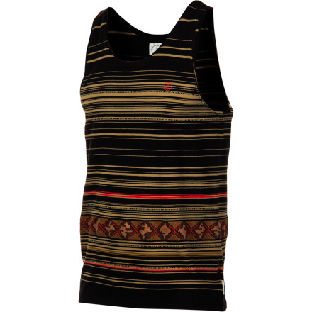 Surf Who knew a tank could have so much style The retro-fit, yarn-dye striped Volcom Men's Segment Tank Top won't frump up your skinny jeans or long shorts, but with all-cotton construction, it's still basic feel-good wear. - $20.97