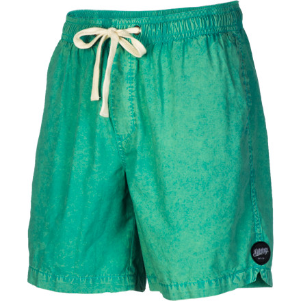 Surf The Billabong Mario Acid Elastic Shorts feature acid-washed cotton poplin fabric and a modern 18-inch inseam that hits several inches above the knee. - $33.53