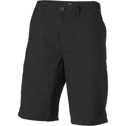 Surf The Hurley Rivingston Shorts are the dressed-up big daddy of summer walk shorts. Tailored detailing and a relaxed cut give these shorts the look of suit pants but with the breezy feel of bare lower legs. - $35.96