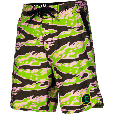 Surf If you just can't get enough of the board short look and feel, you'll love the Hurley Stecyk By The Pool Boardwalk Men's Short. It has a board short silhouette and a surf-style tie closure for a laid-back surfy look, with a breathable cotton blend fabric and a custom camo print designed by legendary skater and surfer Craig Stecyk. - $38.64
